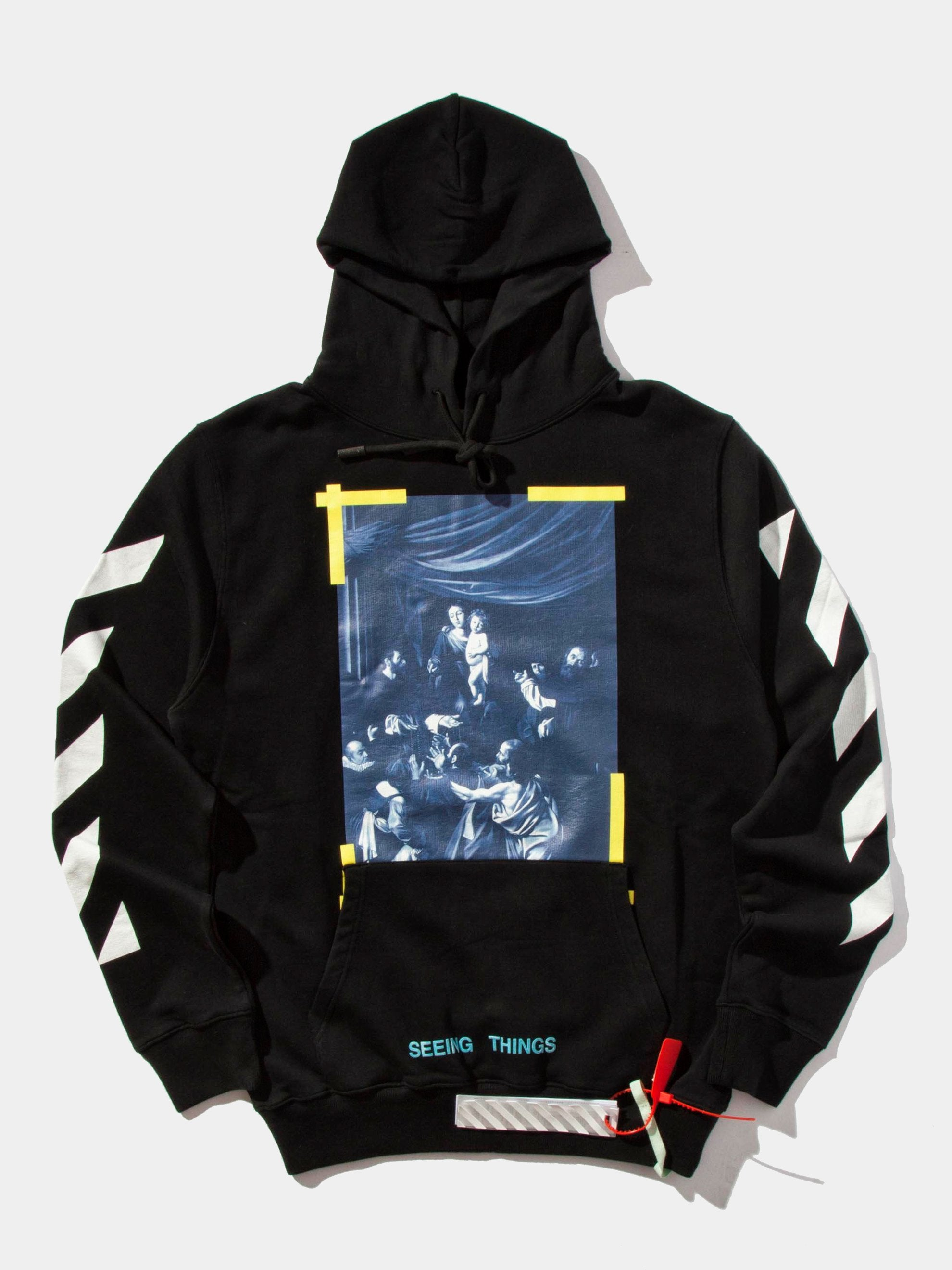 Black Diagonal Caravaggio Hooded Sweatshirt 1