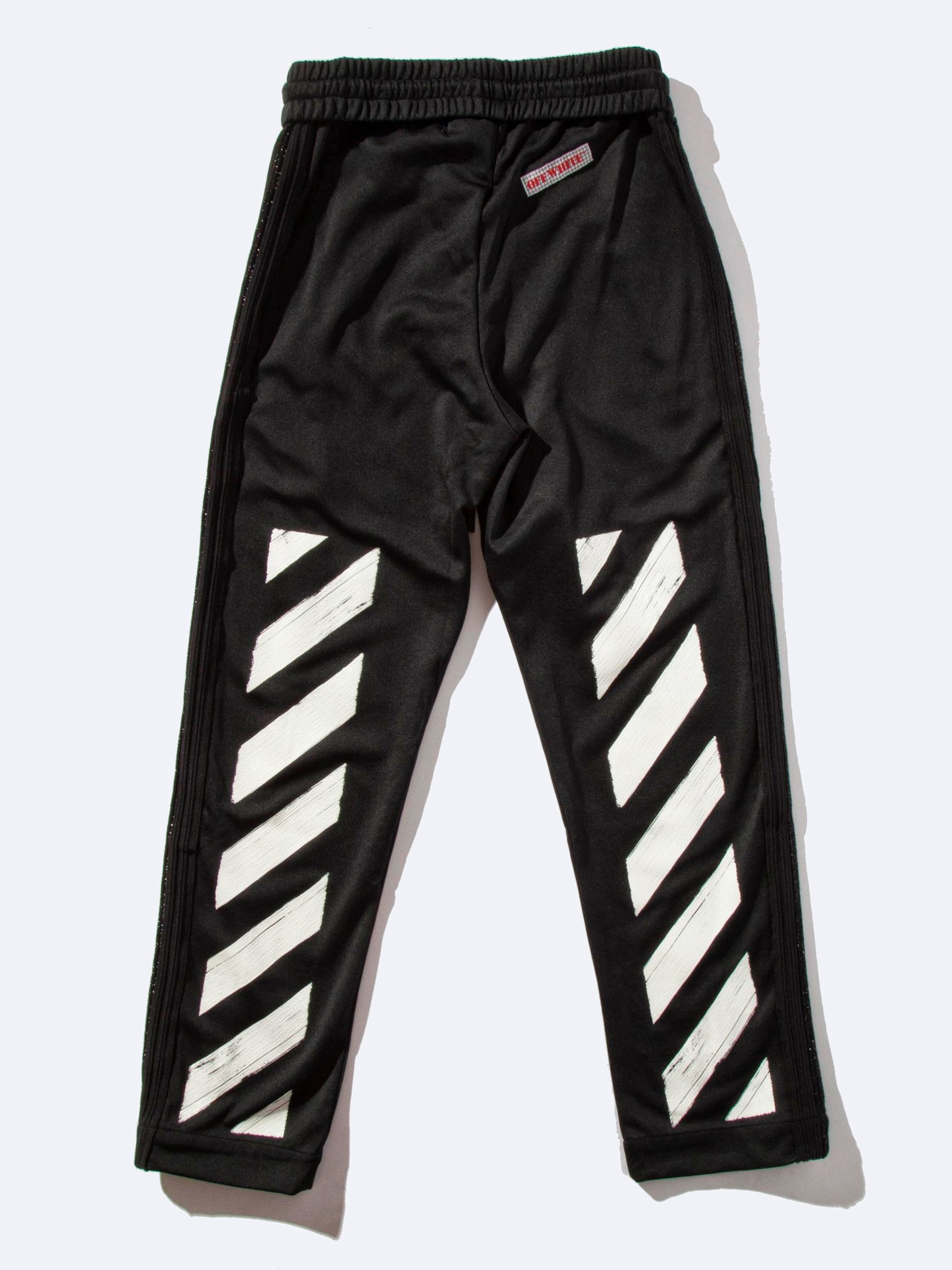 Black Diagonal Brushed Track Pant 1