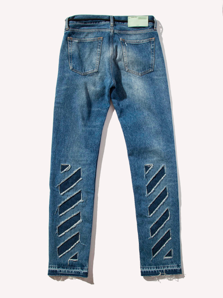 Diagonal Window Skinny 5 Pockets Denim Jeans