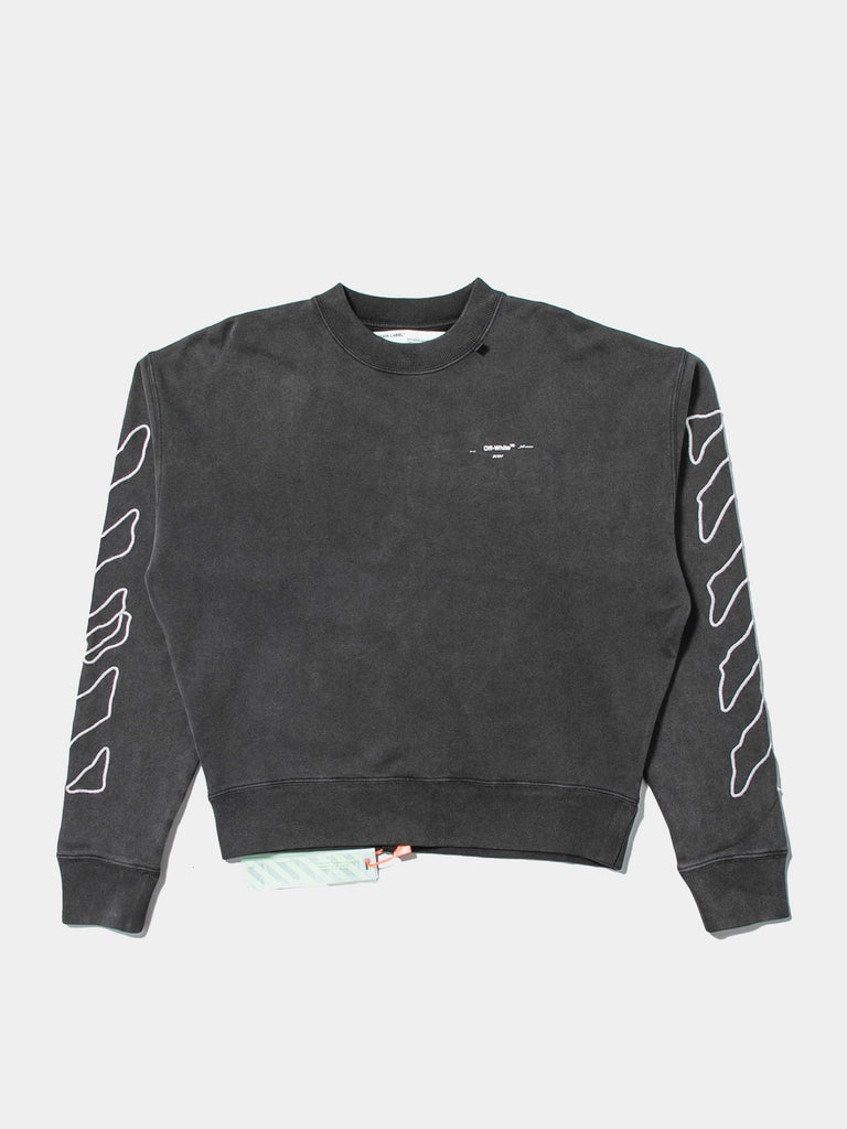 Black / White Abstract Arrows Over Crewneck 413566470520909