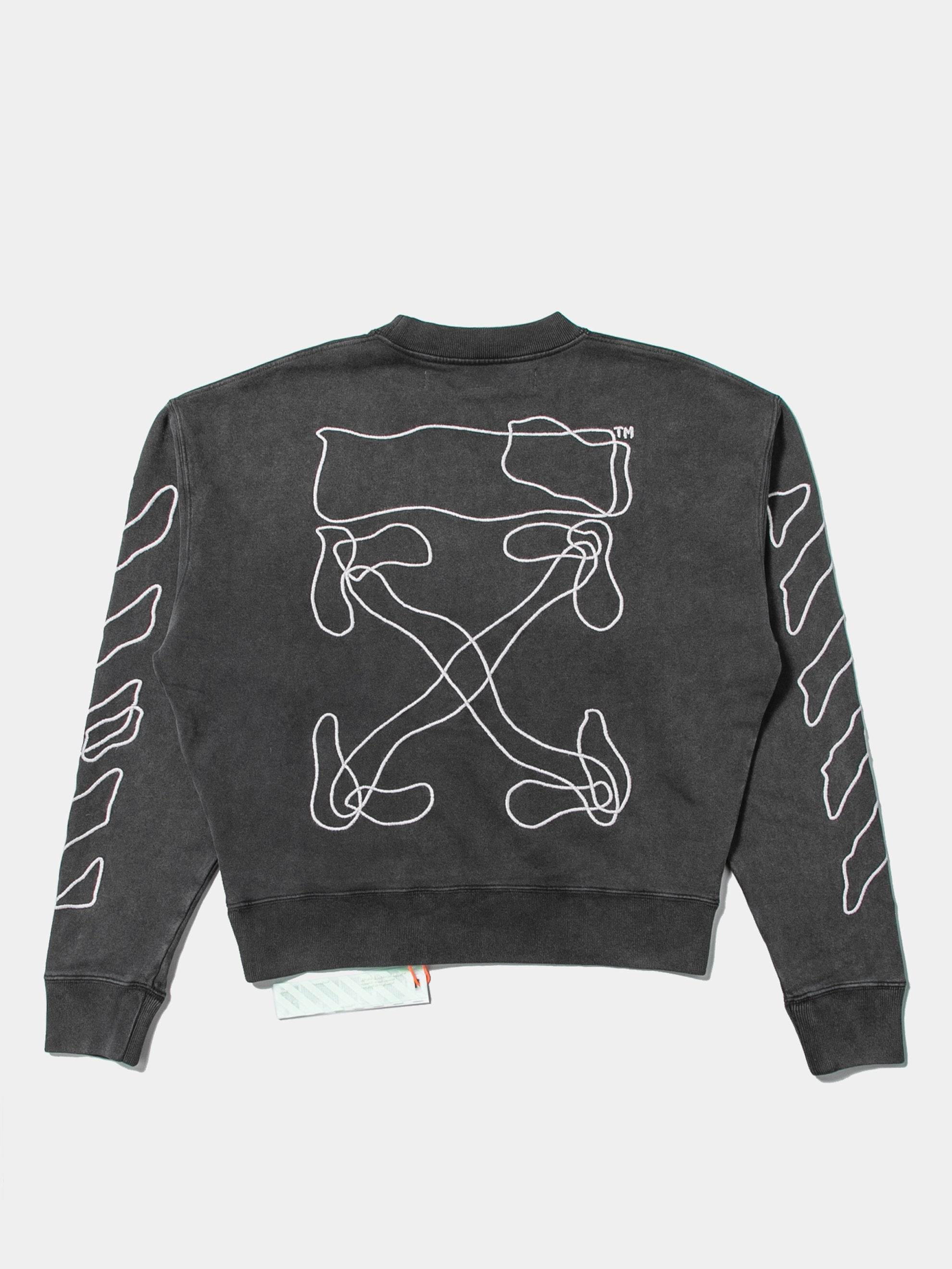 Black / White Abstract Arrows Over Crewneck 1