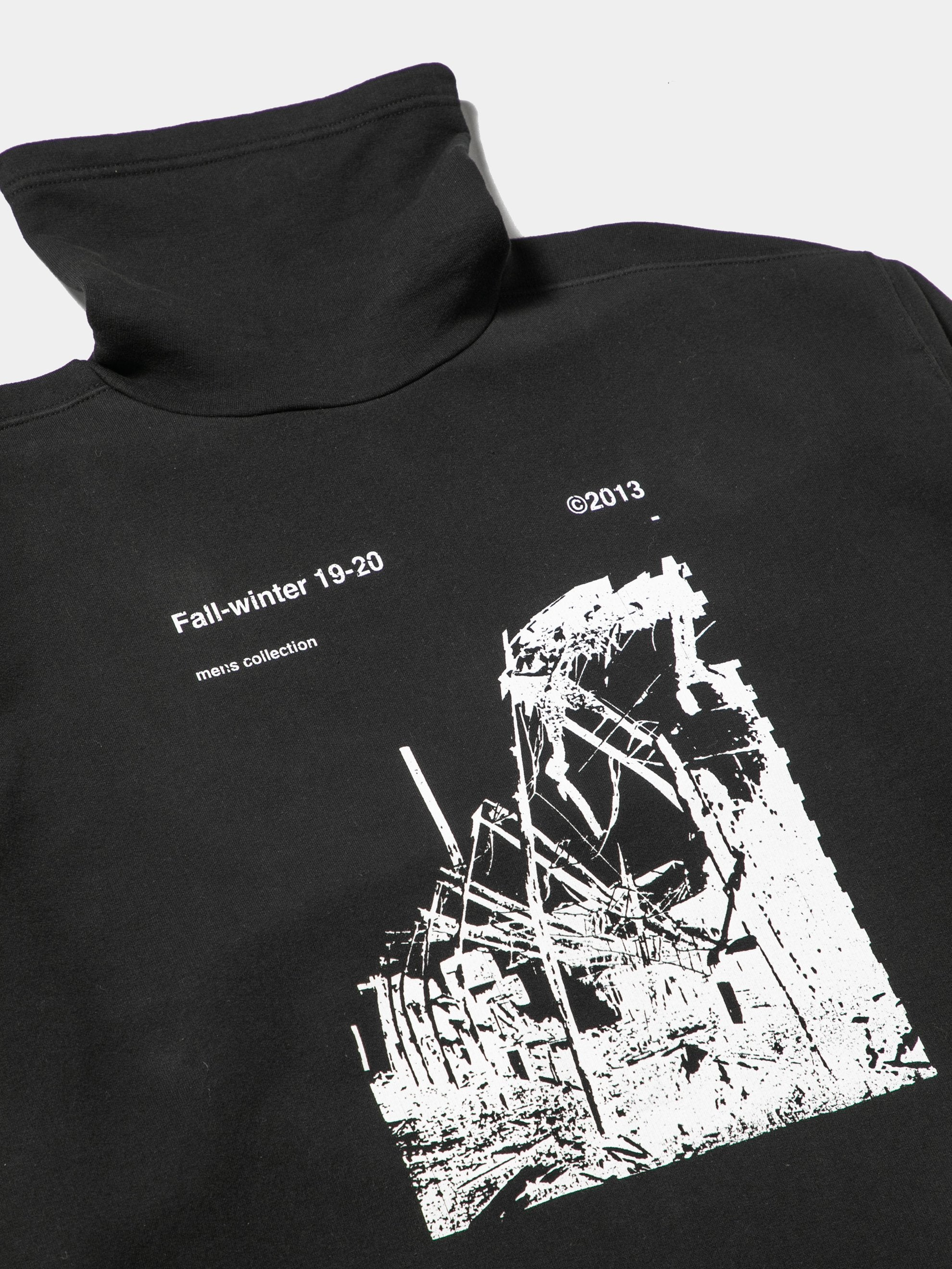 Black / White Ruined Factory Funnel Neck Sweatshirt 5