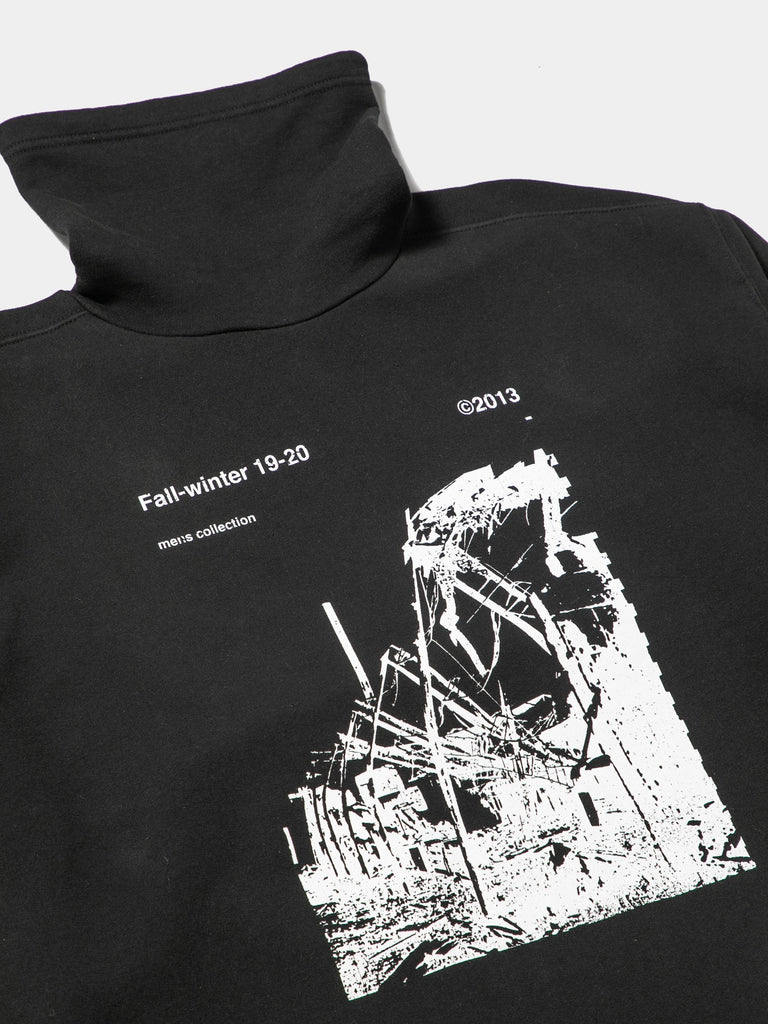 Black / White Ruined Factory Funnel Neck Sweatshirt 513566468063309