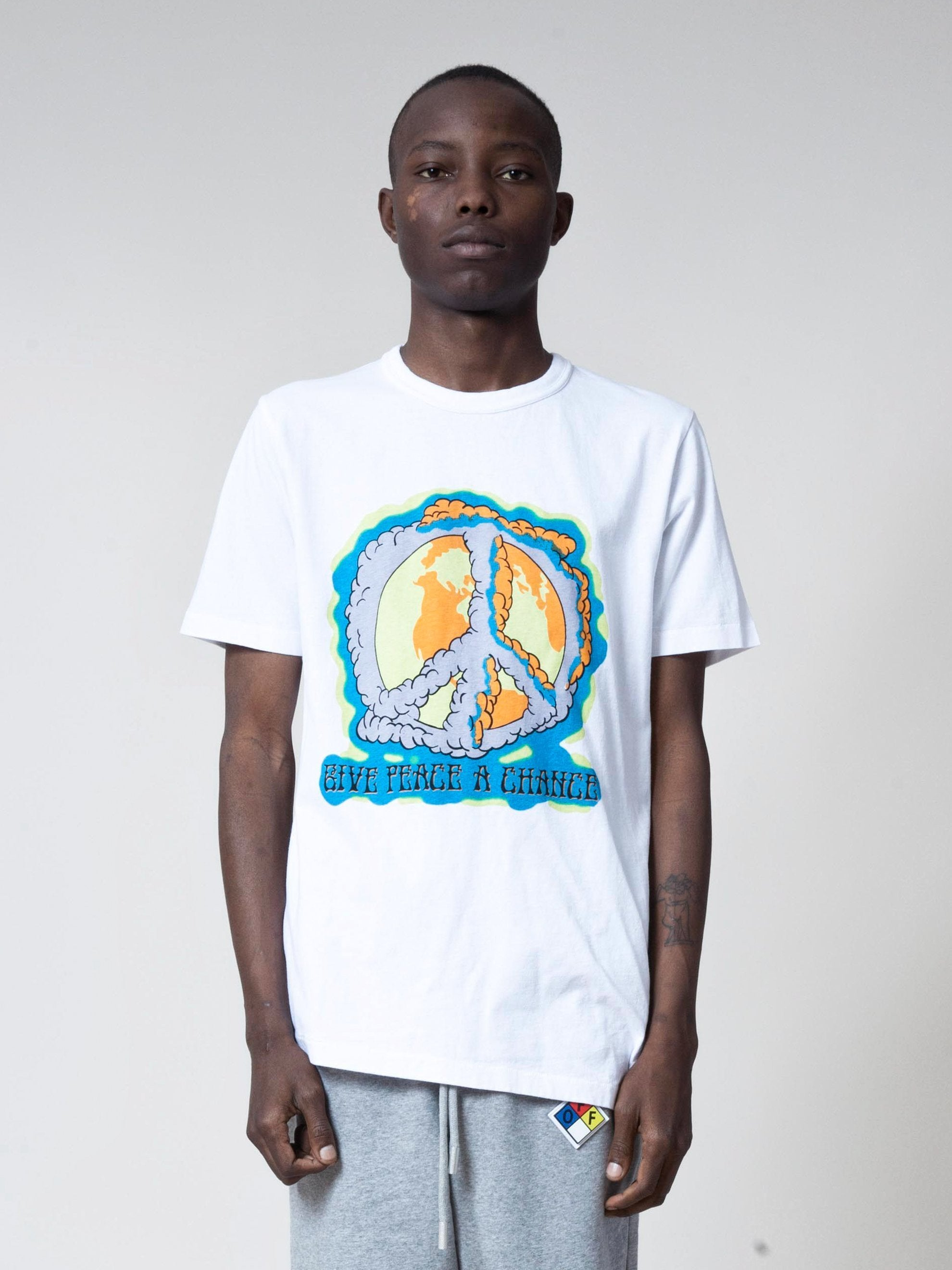 White/Multicolor Peace Chance Spliced S/S T-Shirt 2