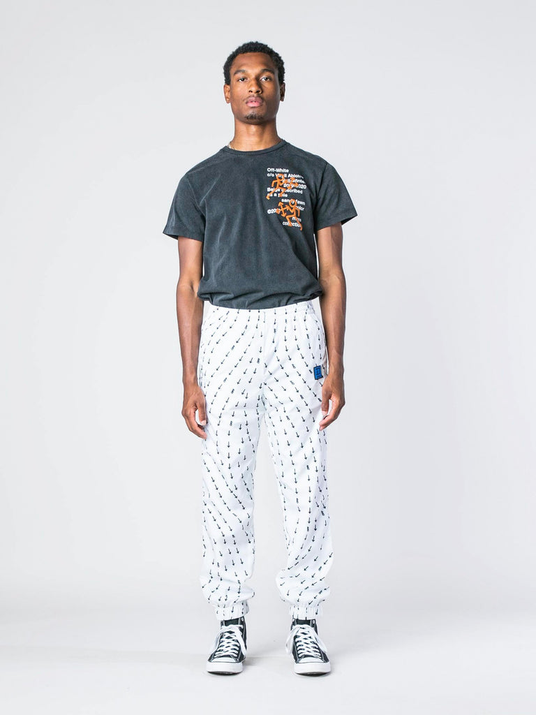 White Arrow Print Track Pants 313570470543437