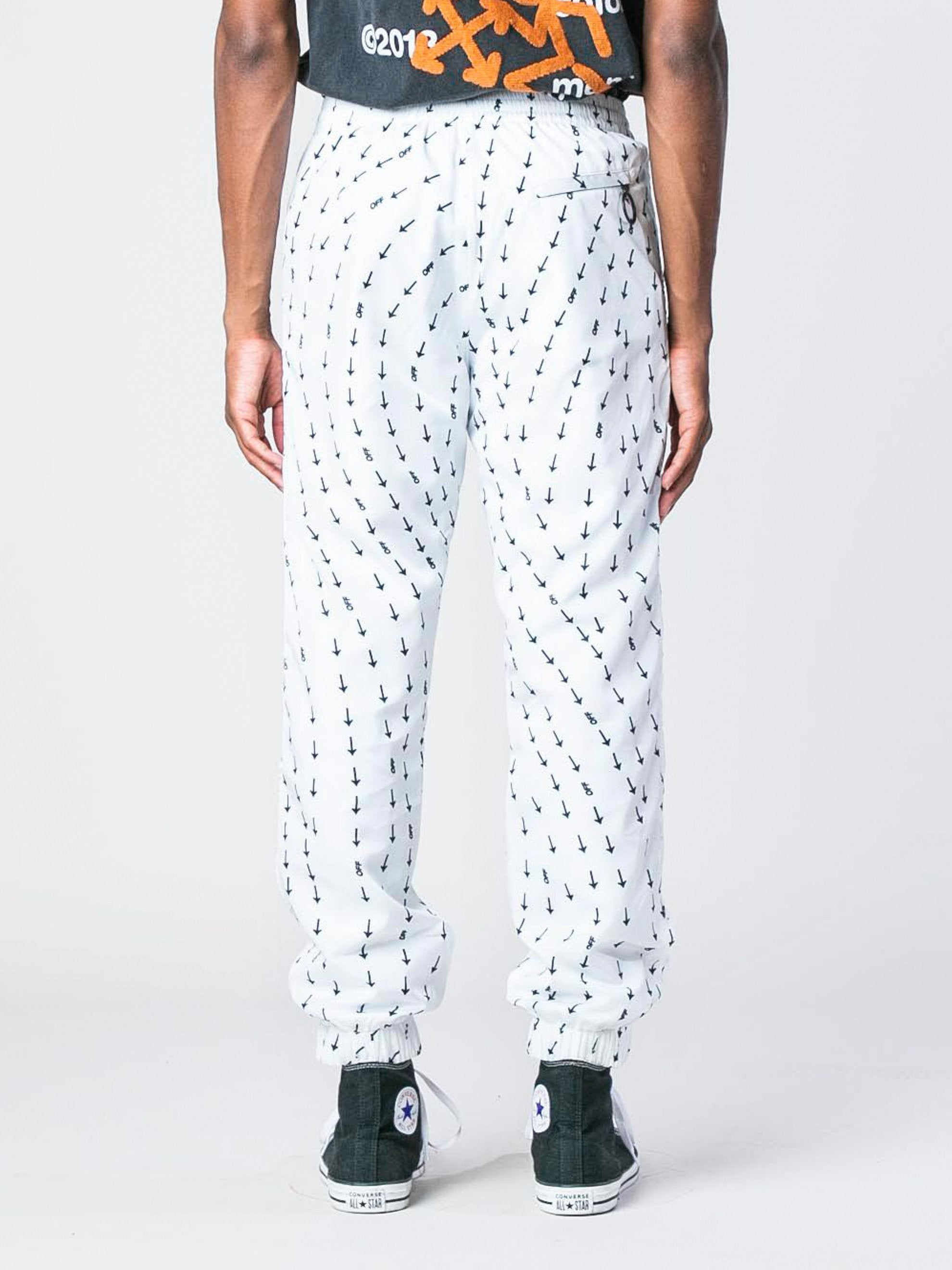 White Arrow Print Track Pants 4