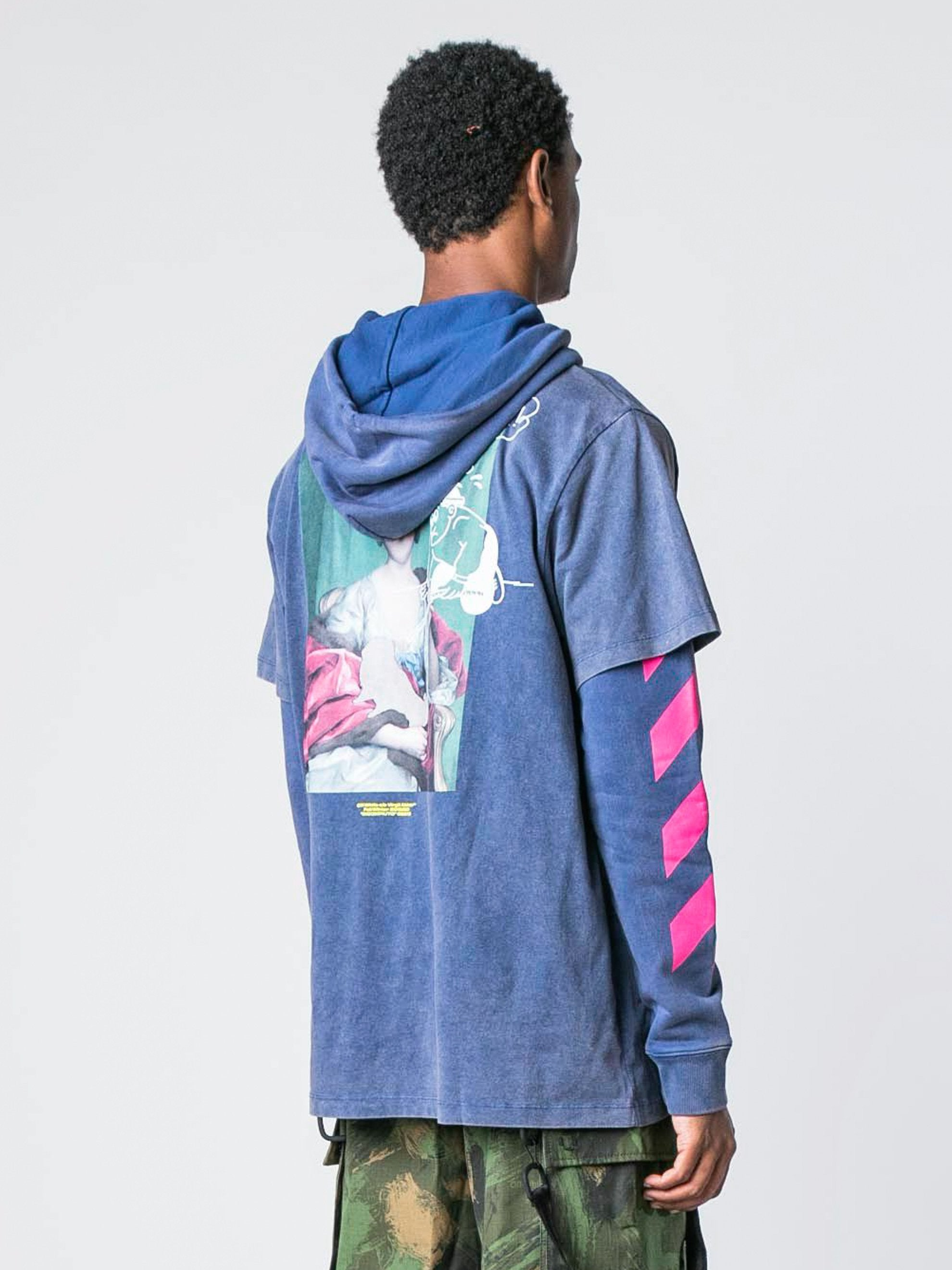 Blue / Multicolor Diagonal Mariana Double Hooded T-Shirt 5