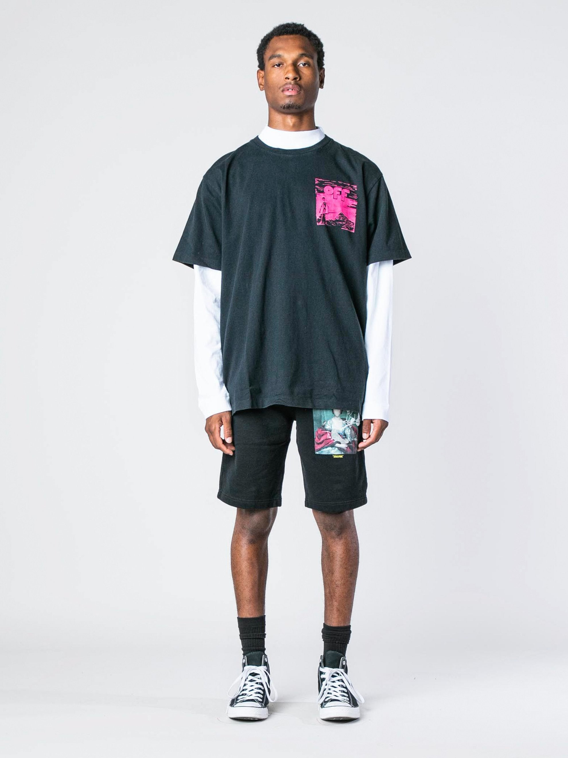 Black / Fuchsia Skull Floating S/S Over T-Shirt 3