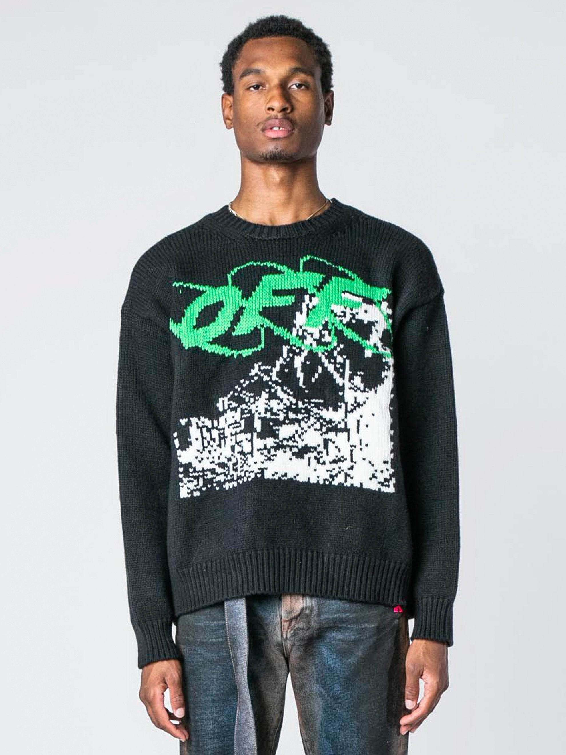 Black / White Ruined Factory Knit Crewneck 2