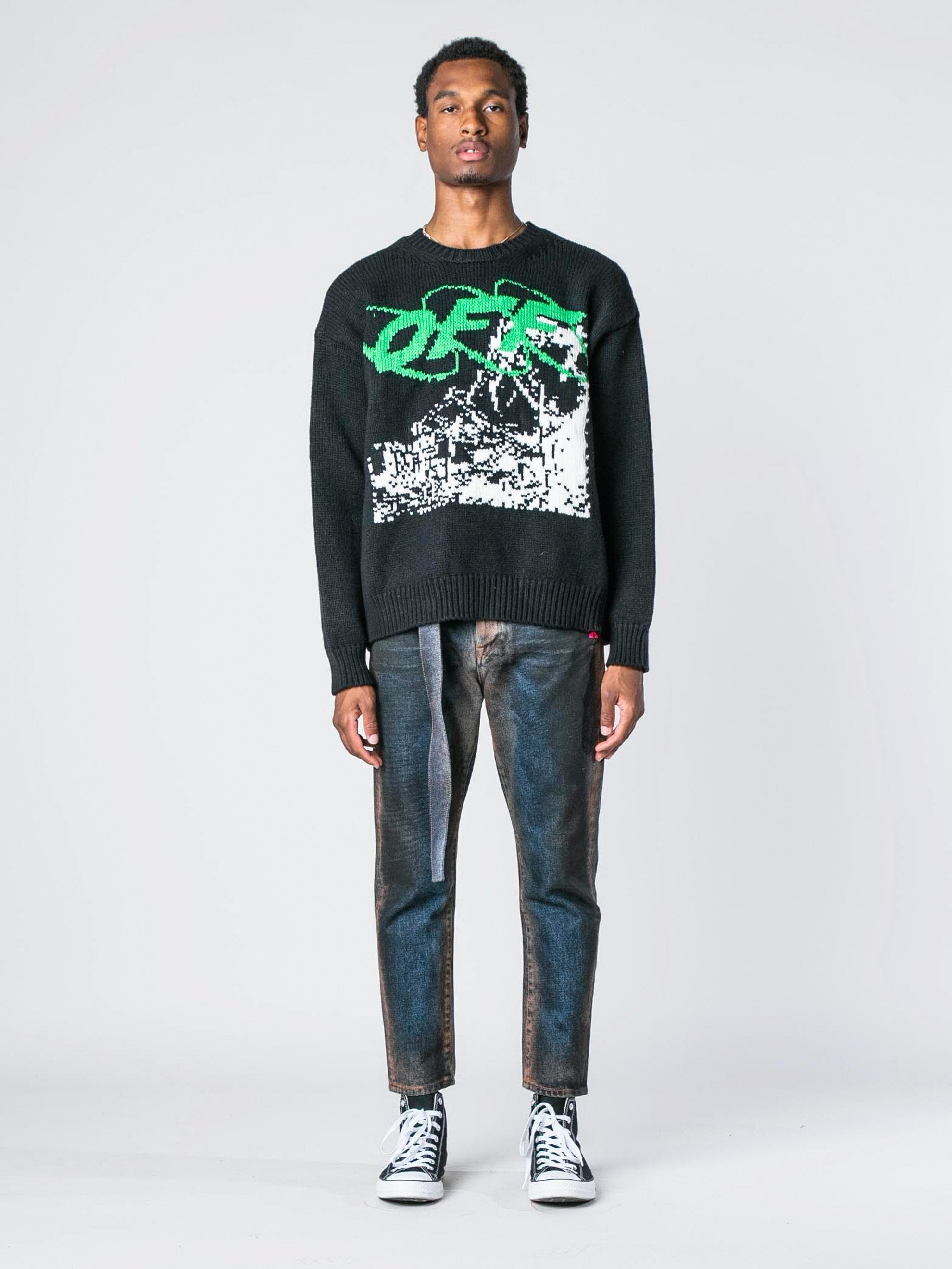 Black / White Ruined Factory Knit Crewneck 3