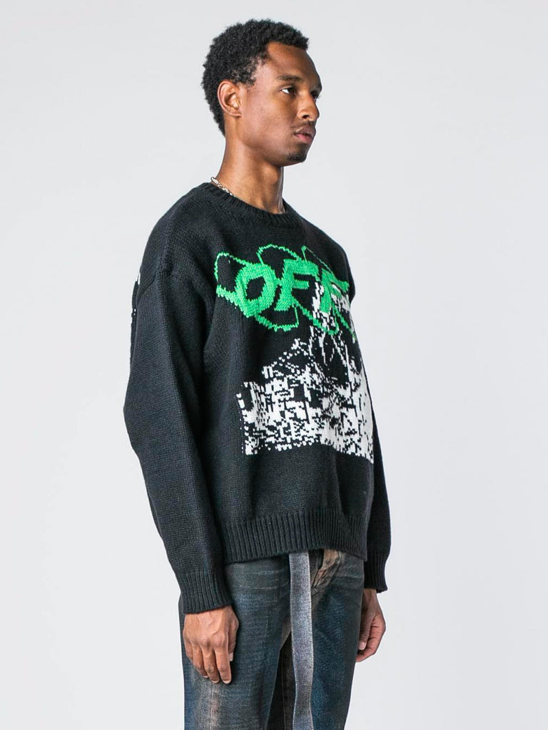 Black / White Ruined Factory Knit Crewneck 413570437251149