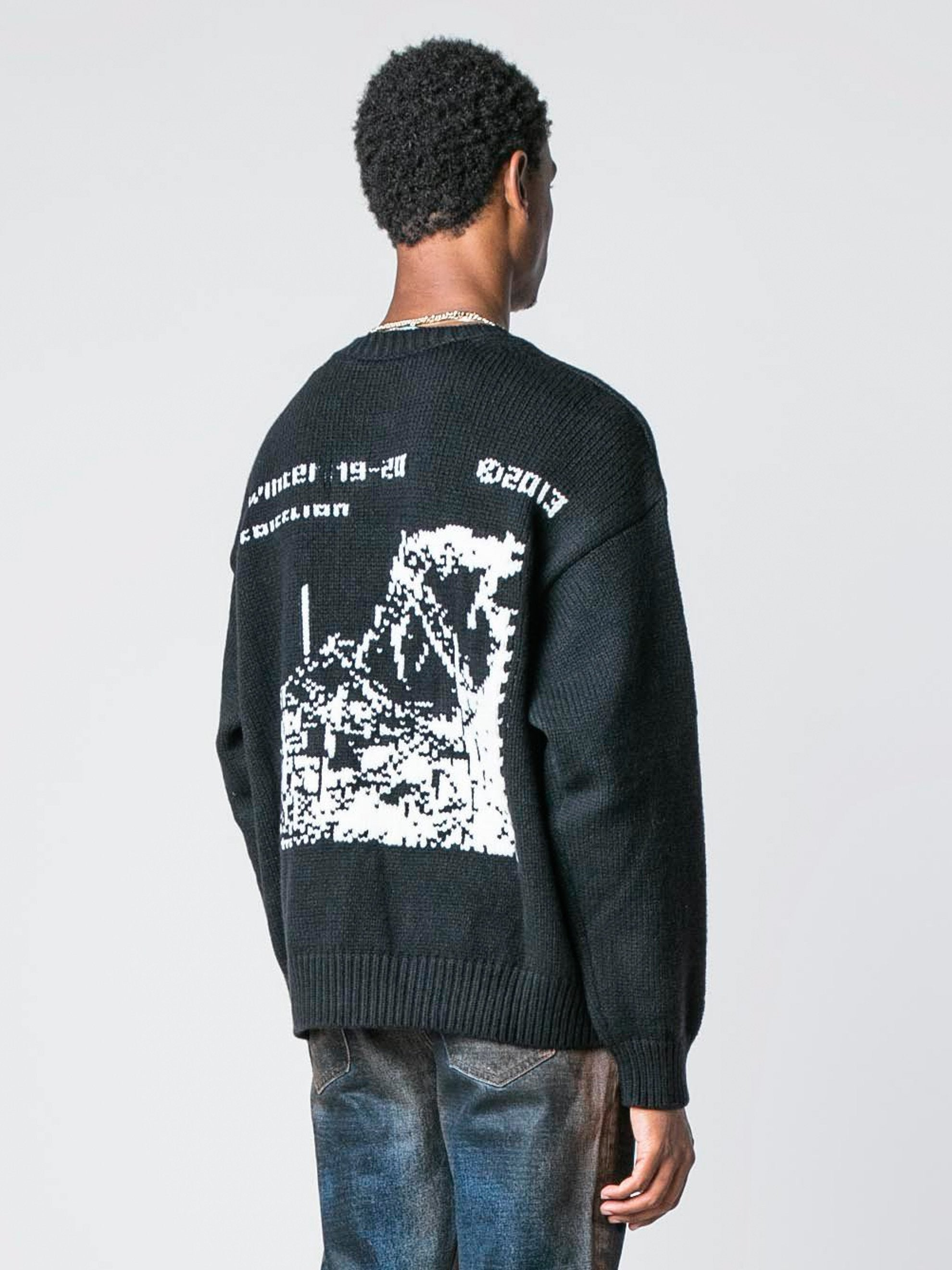 Black / White Ruined Factory Knit Crewneck 5