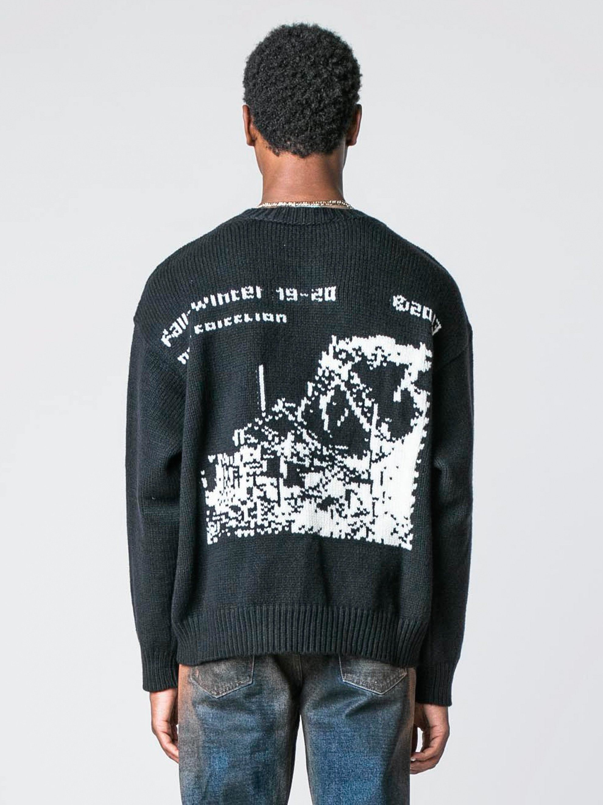 Black / White Ruined Factory Knit Crewneck 6