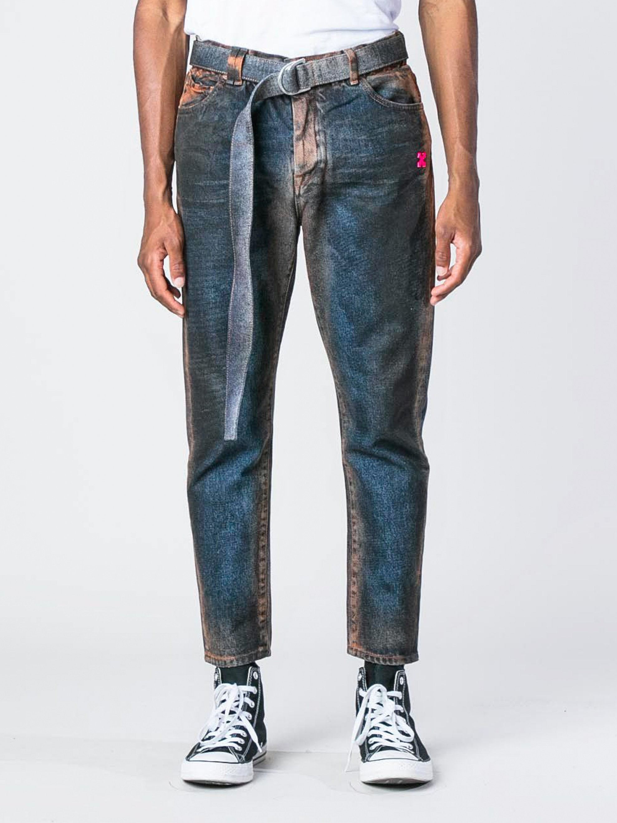Fuchsia Slim Low Crotch Oil Wash Denim 2