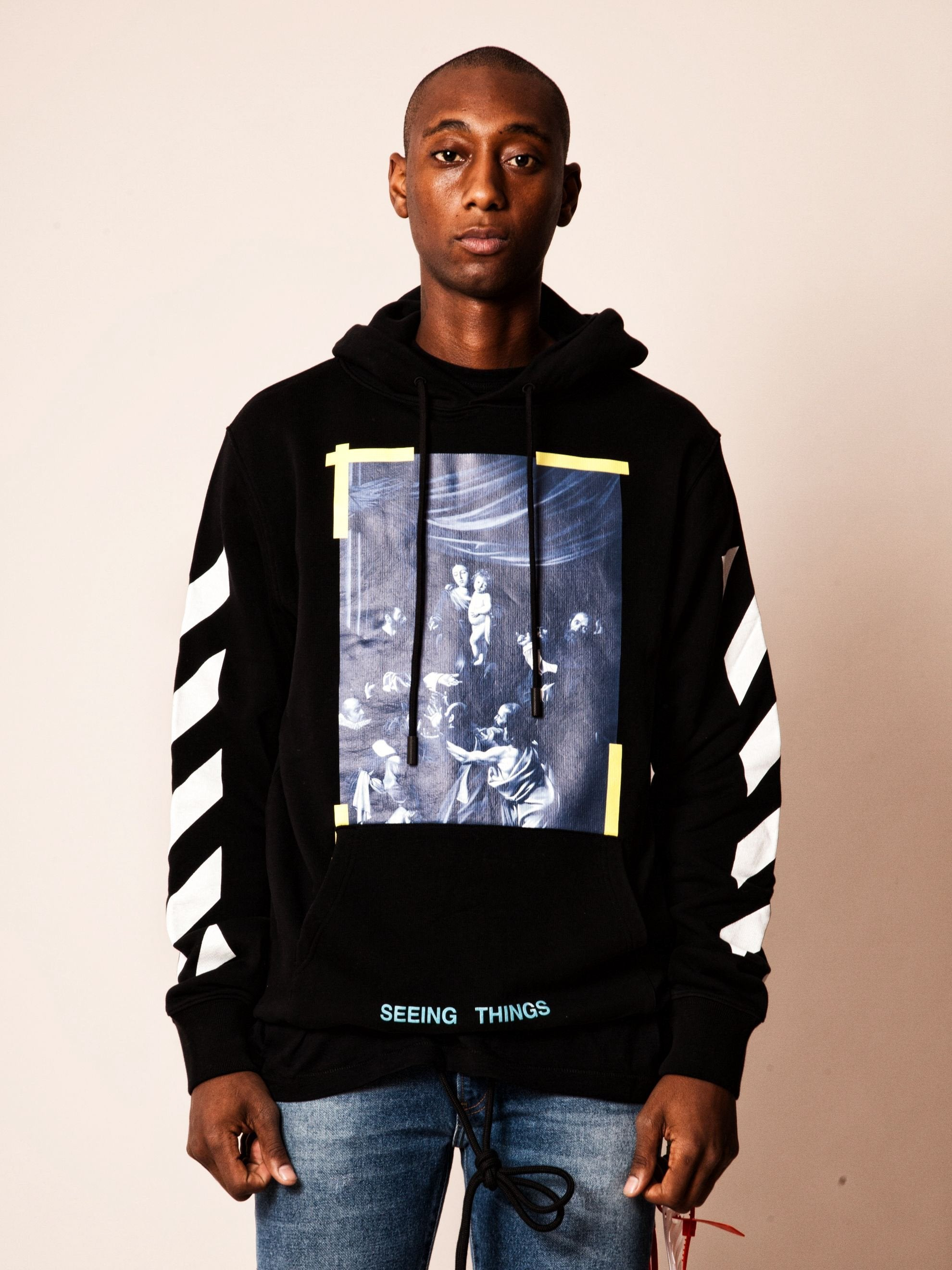 Black Diagonal Caravaggio Hooded Sweatshirt 2