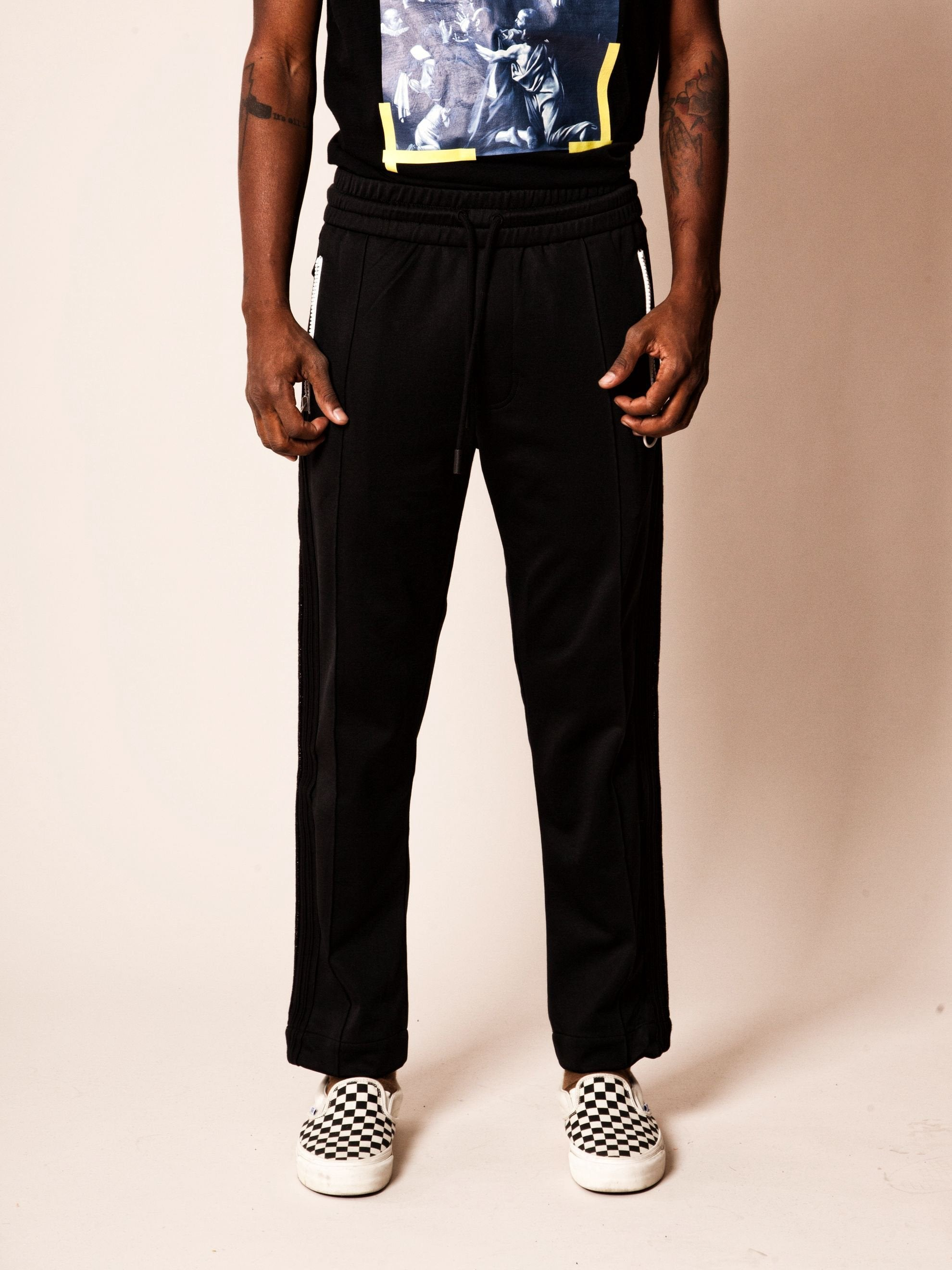 Black Diagonal Brushed Track Pant 2