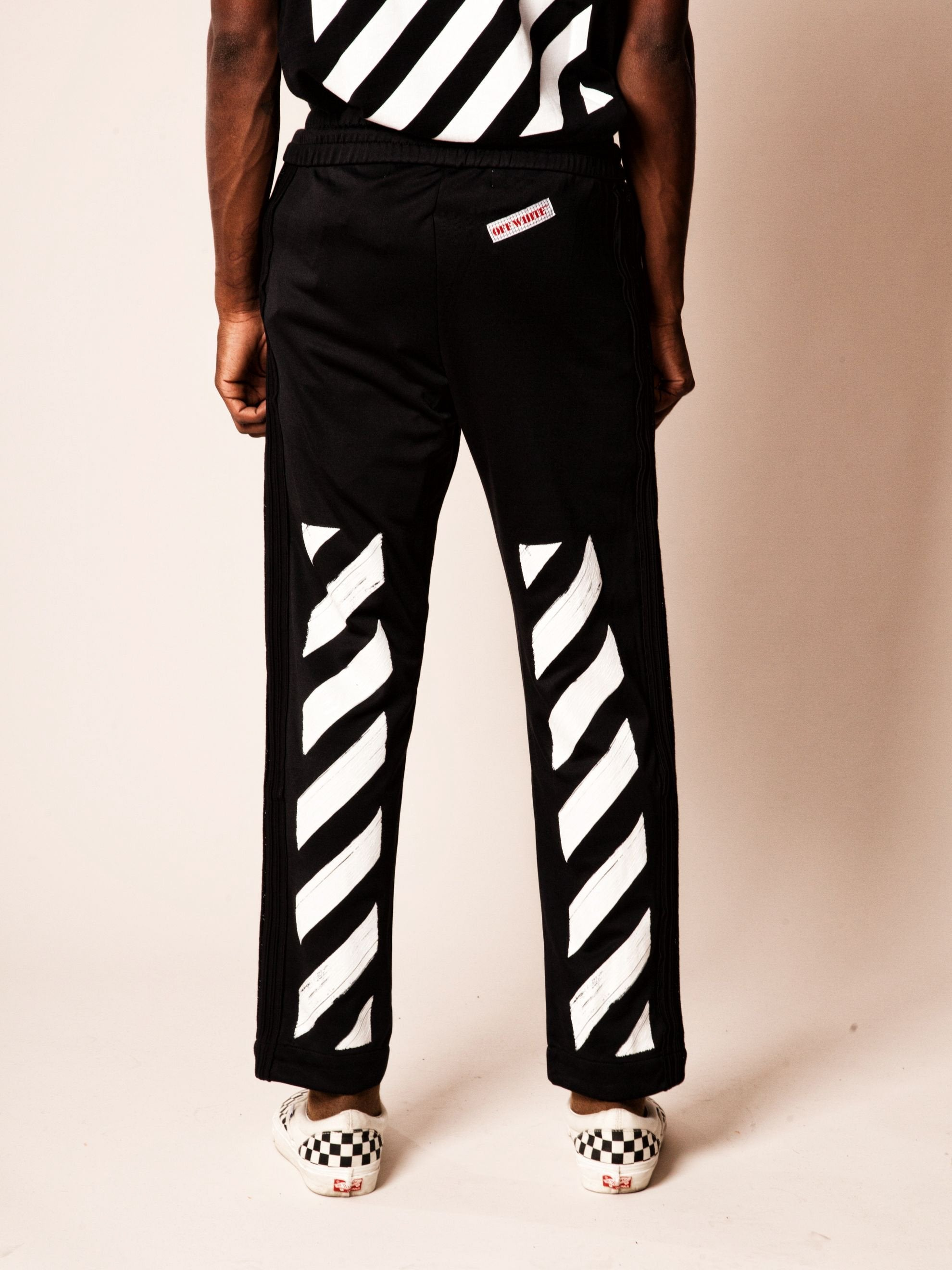 Black Diagonal Brushed Track Pant 6
