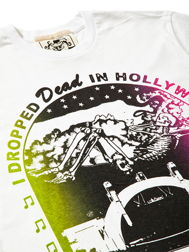 White Dropped Dead in Hollywood T-Shirt 523396948617