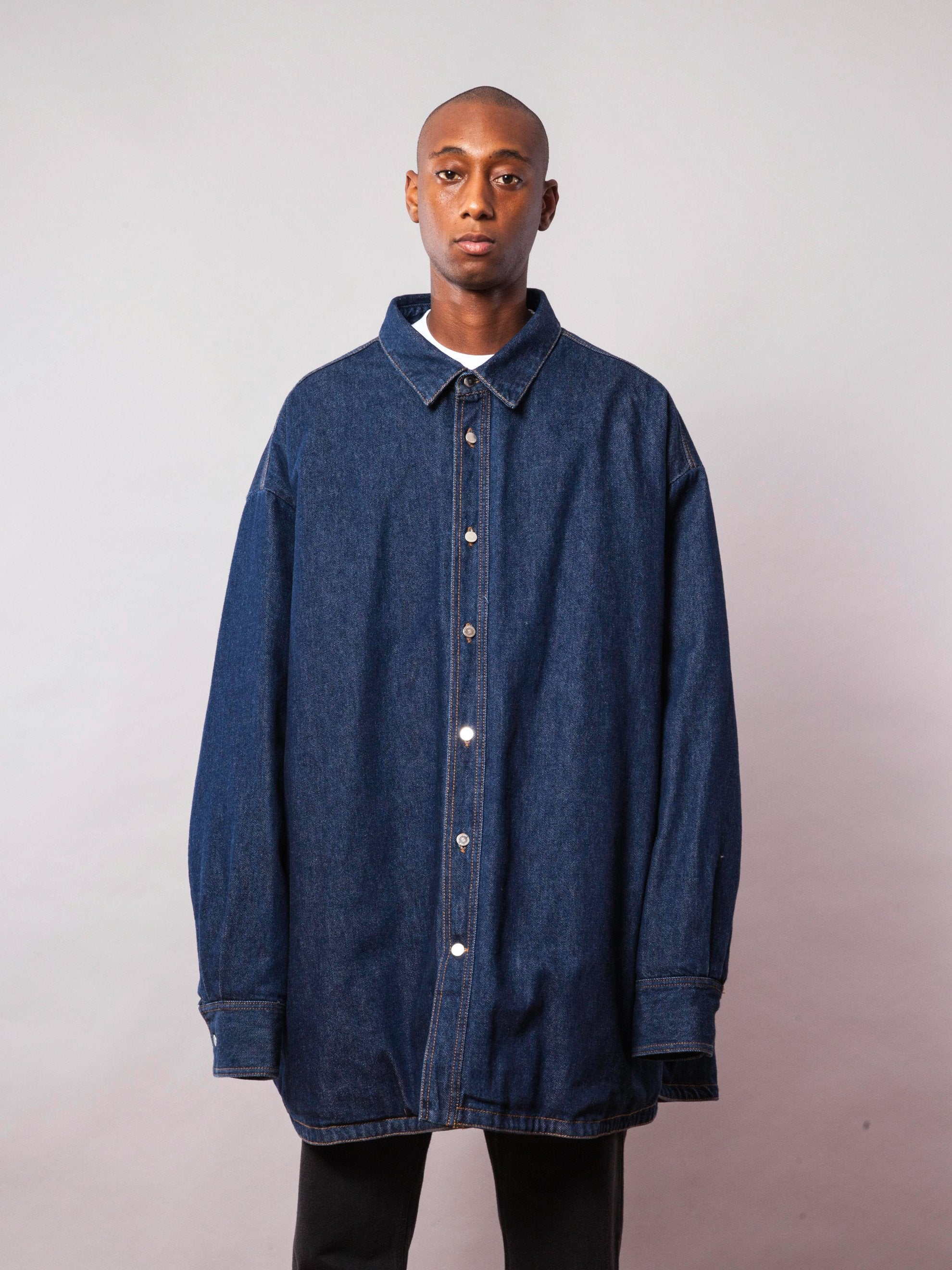 Dark Navy Quilted Denim Shirt 2