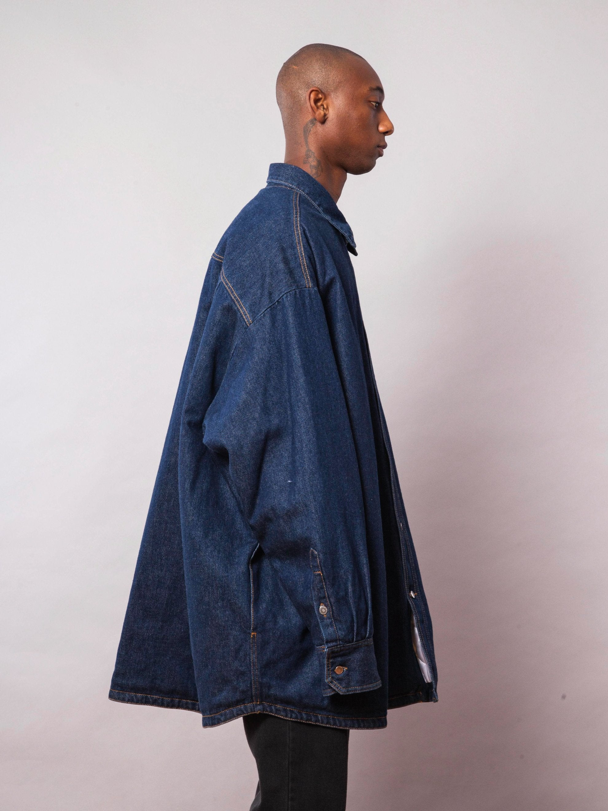Dark Navy Quilted Denim Shirt 4