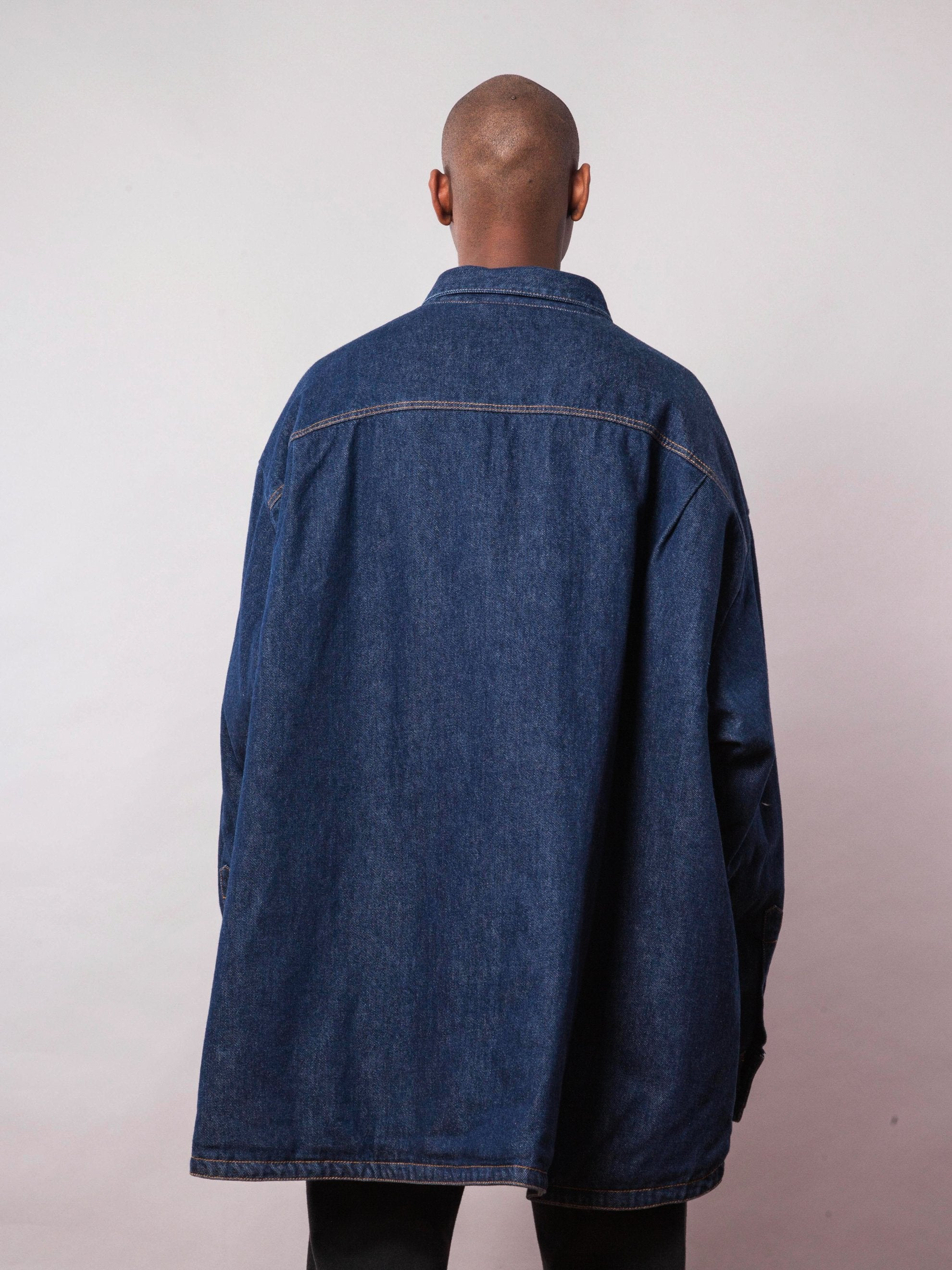 Dark Navy Quilted Denim Shirt 5