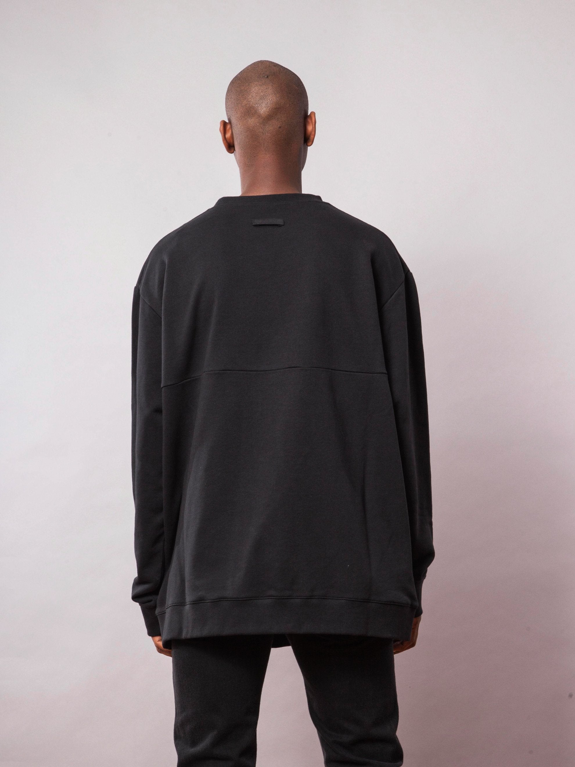 Black Oversized Sweatshirt (with Print) 4