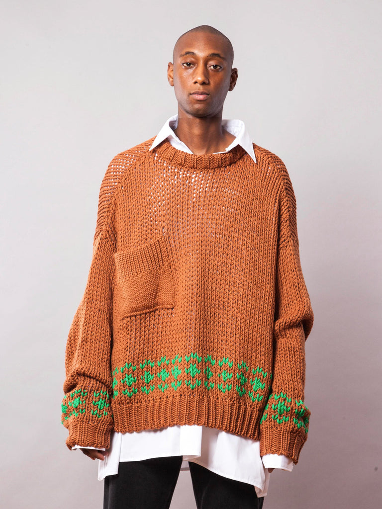 Rust/Green Oversized Disturbed Jacquard Sweater 242063495177