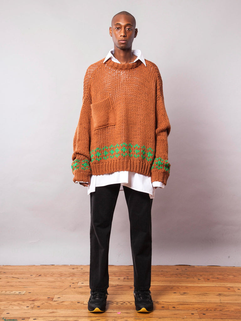 Rust/Green Oversized Disturbed Jacquard Sweater 342064085001