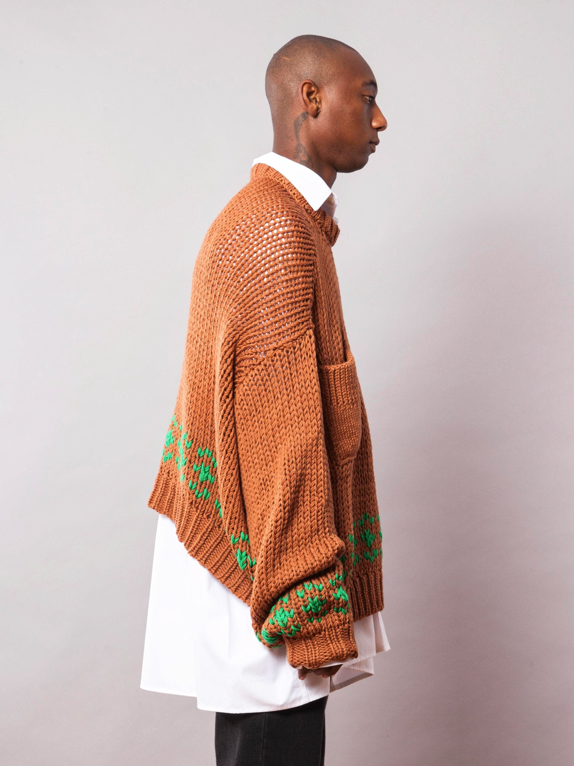 Rust/Green Oversized Disturbed Jacquard Sweater 4
