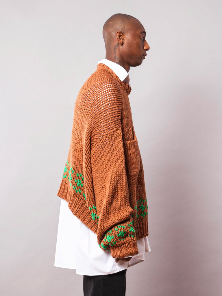 Rust/Green Oversized Disturbed Jacquard Sweater 442064838665
