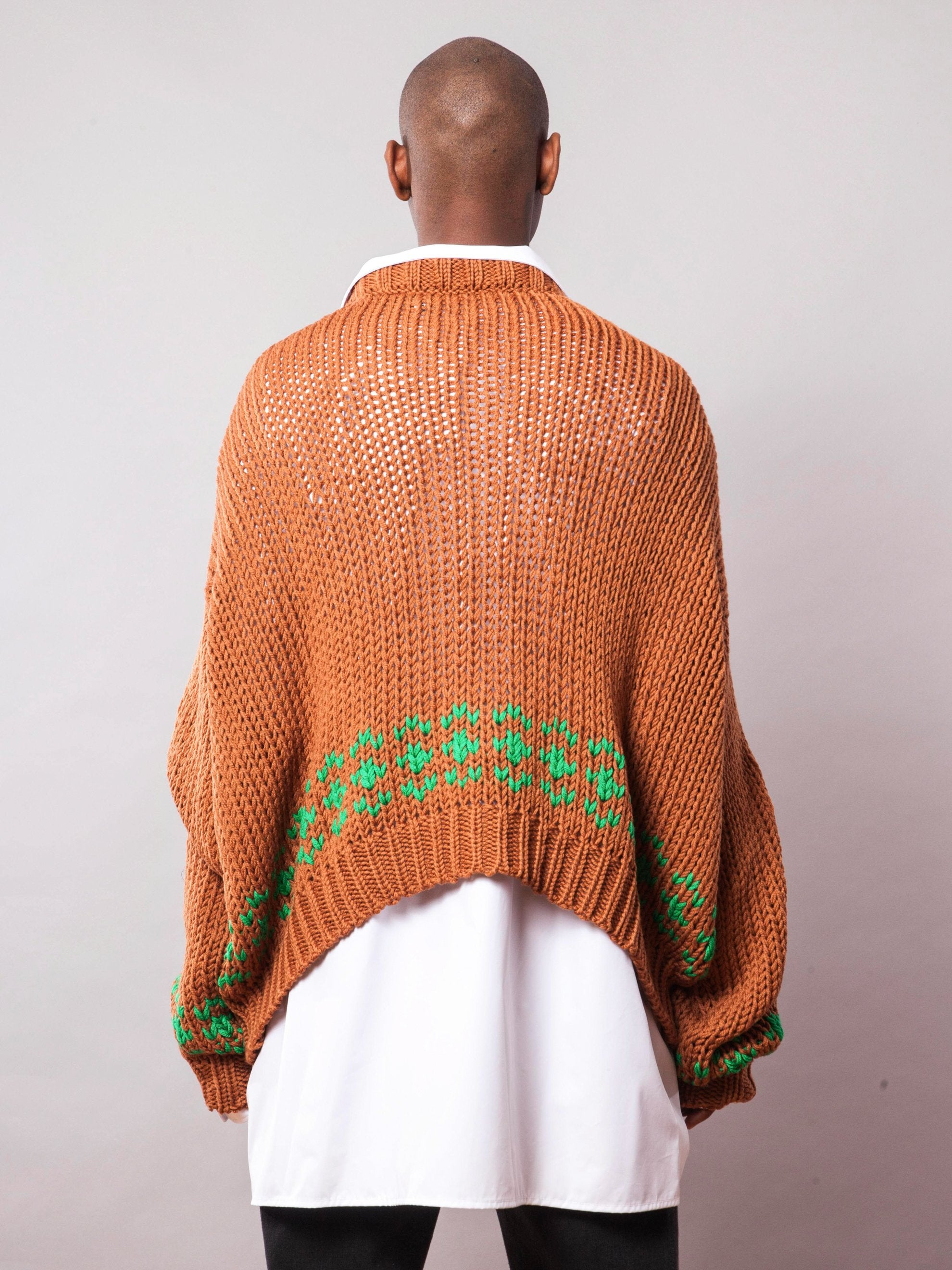 Rust/Green Oversized Disturbed Jacquard Sweater 5