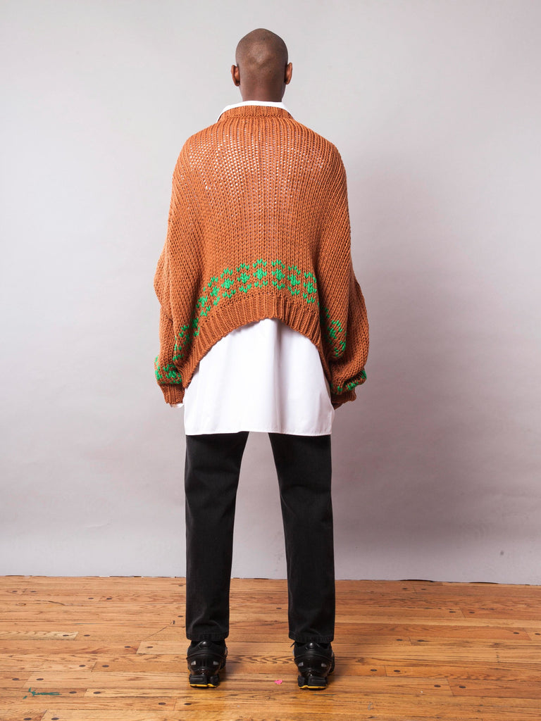 Rust/Green Oversized Disturbed Jacquard Sweater 642068246537