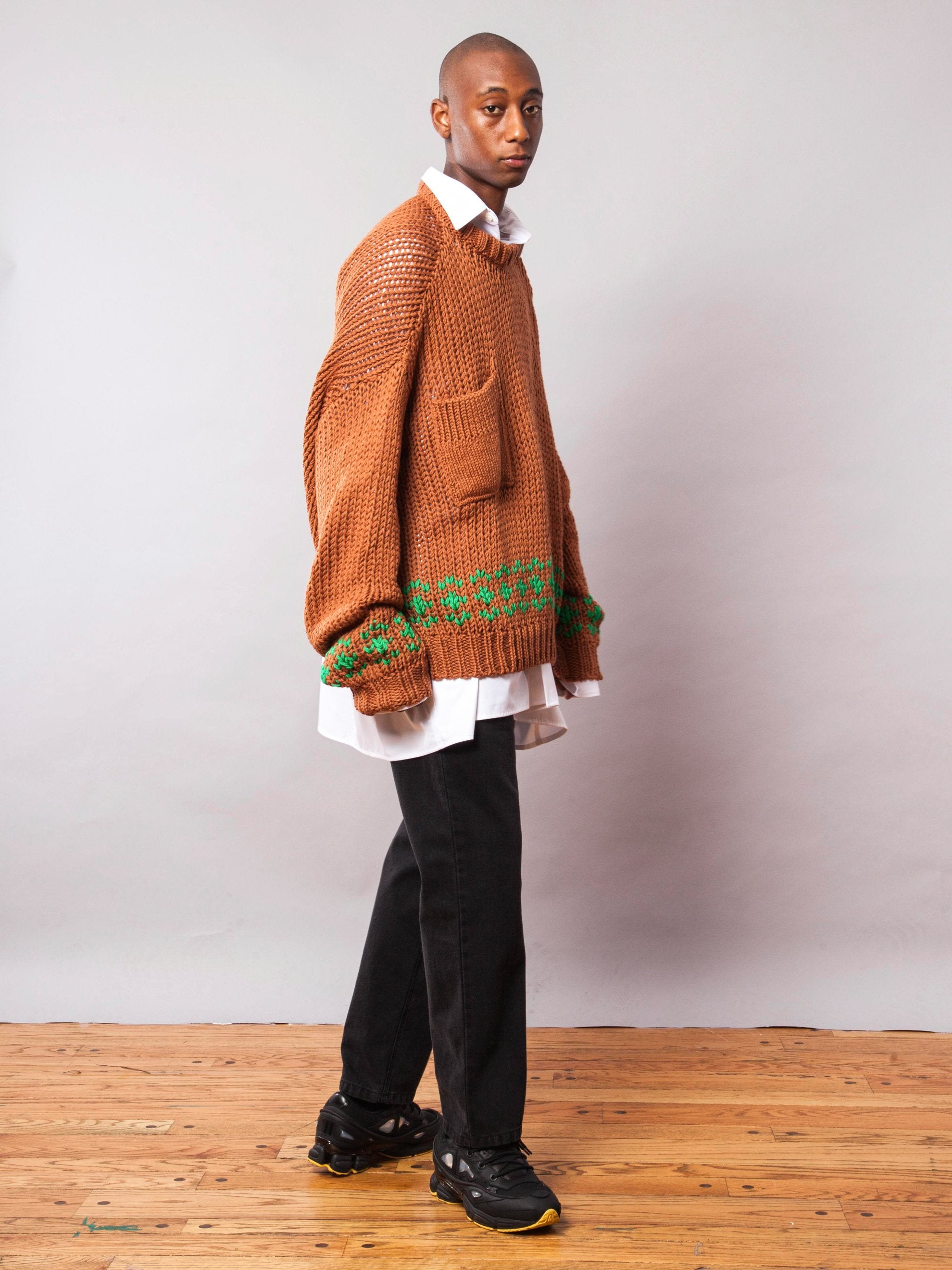 Rust/Green Oversized Disturbed Jacquard Sweater 7