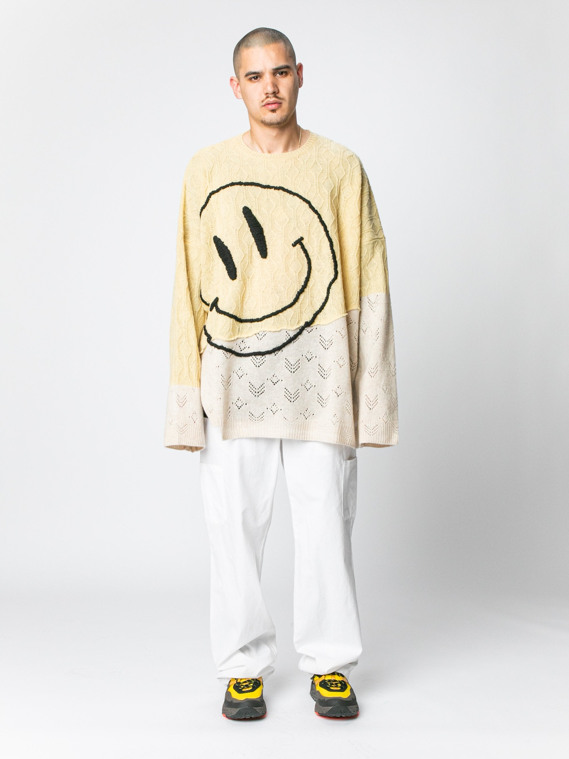 M Collage Oversized Sweater With Smiley 3
