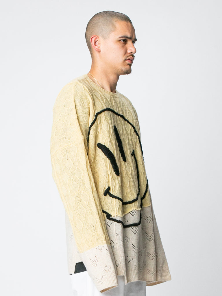 M Collage Oversized Sweater With Smiley 414326364799053