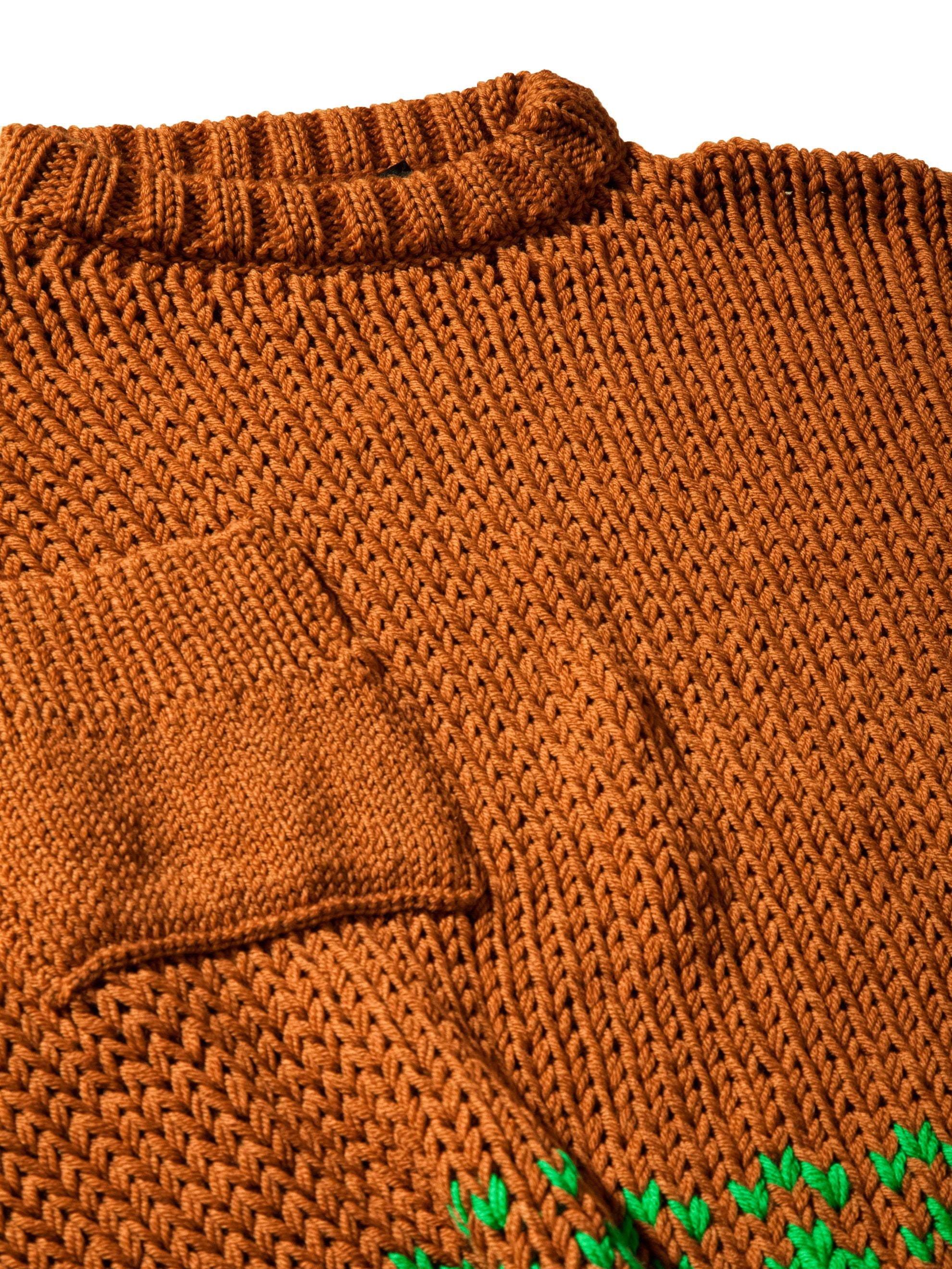 Rust/Green Oversized Disturbed Jacquard Sweater 8