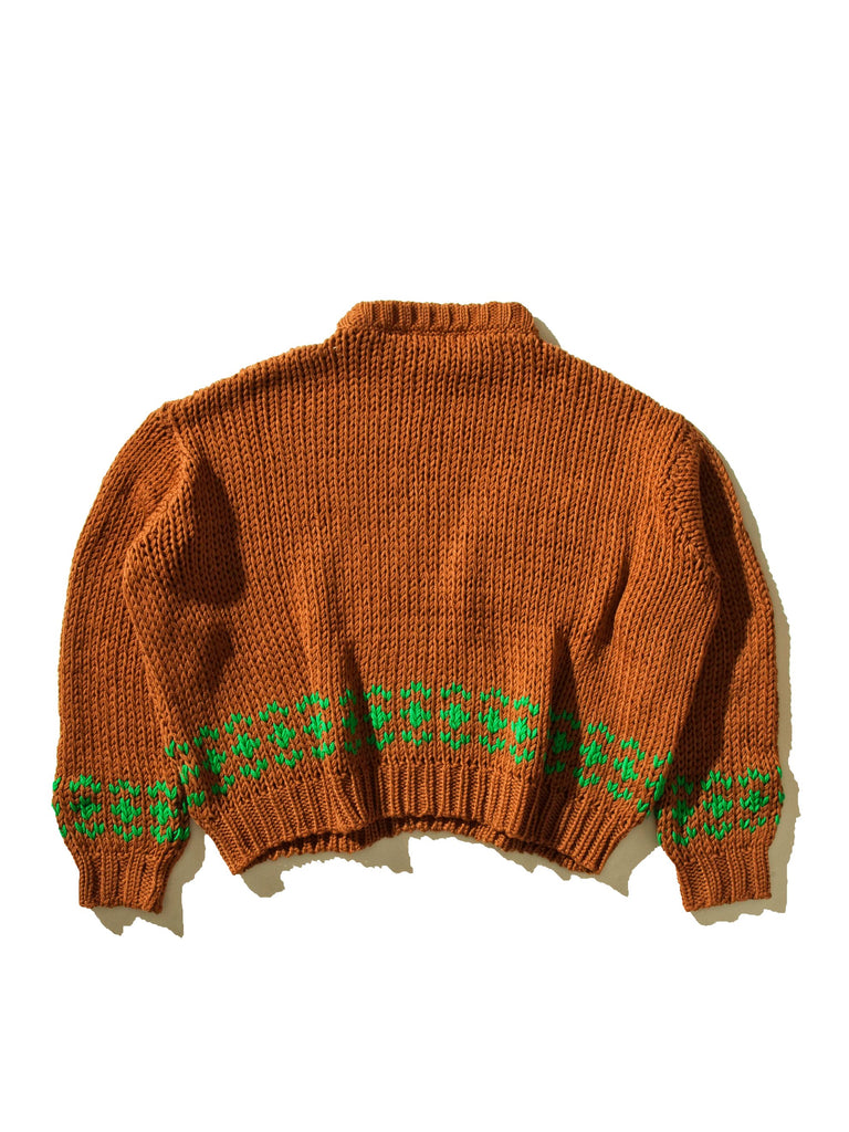 Rust/Green Oversized Disturbed Jacquard Sweater 1045308706825