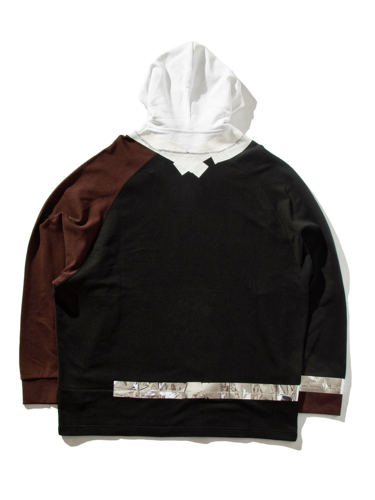 Black/Brown Oversized Hooded Sweatshirt (Tape) 10373302951945