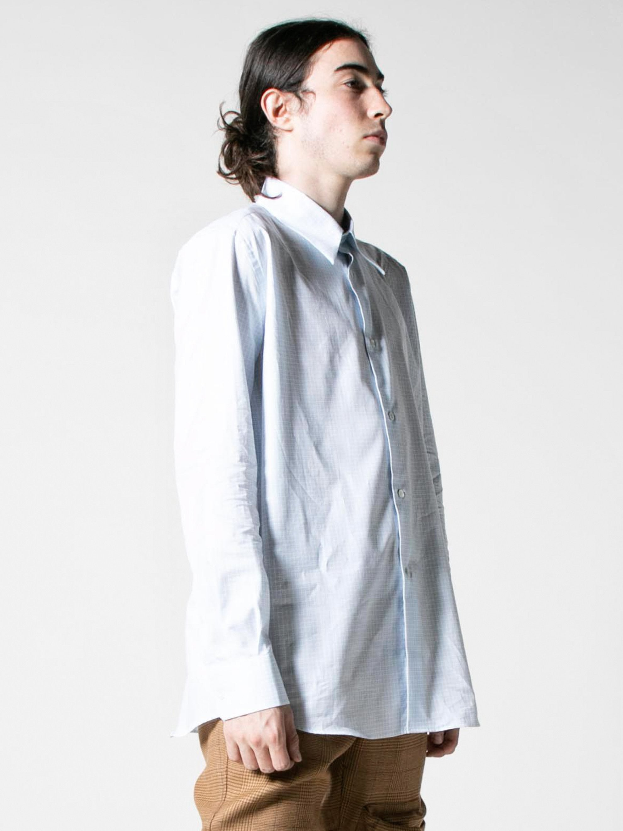 White/Light Blue Plastic Yoke Shirt 5