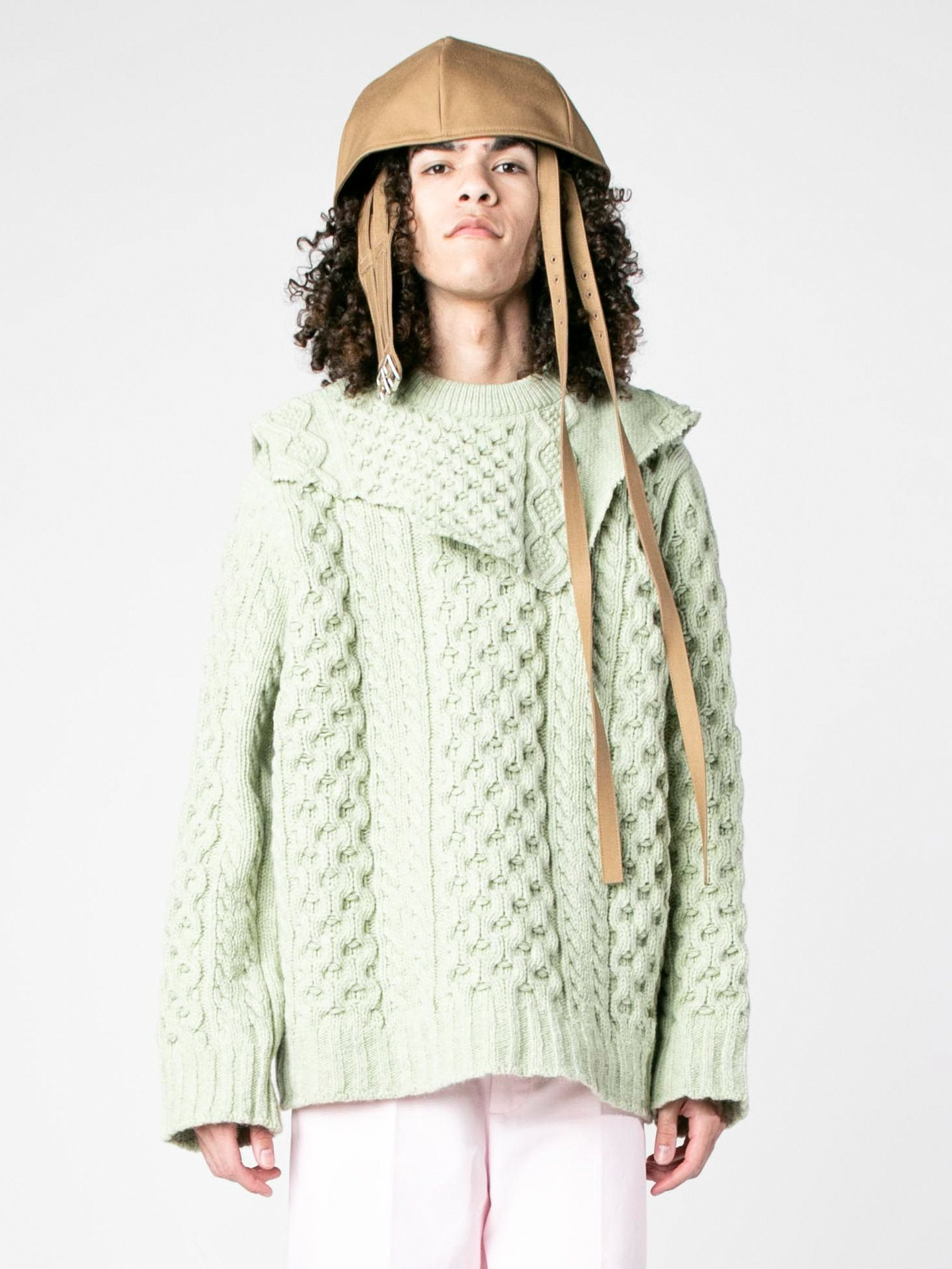 Sage Aran Knit Sweater with Patched on Collar 2