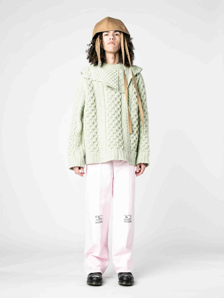 Sage Aran Knit Sweater with Patched on Collar 313570058321997