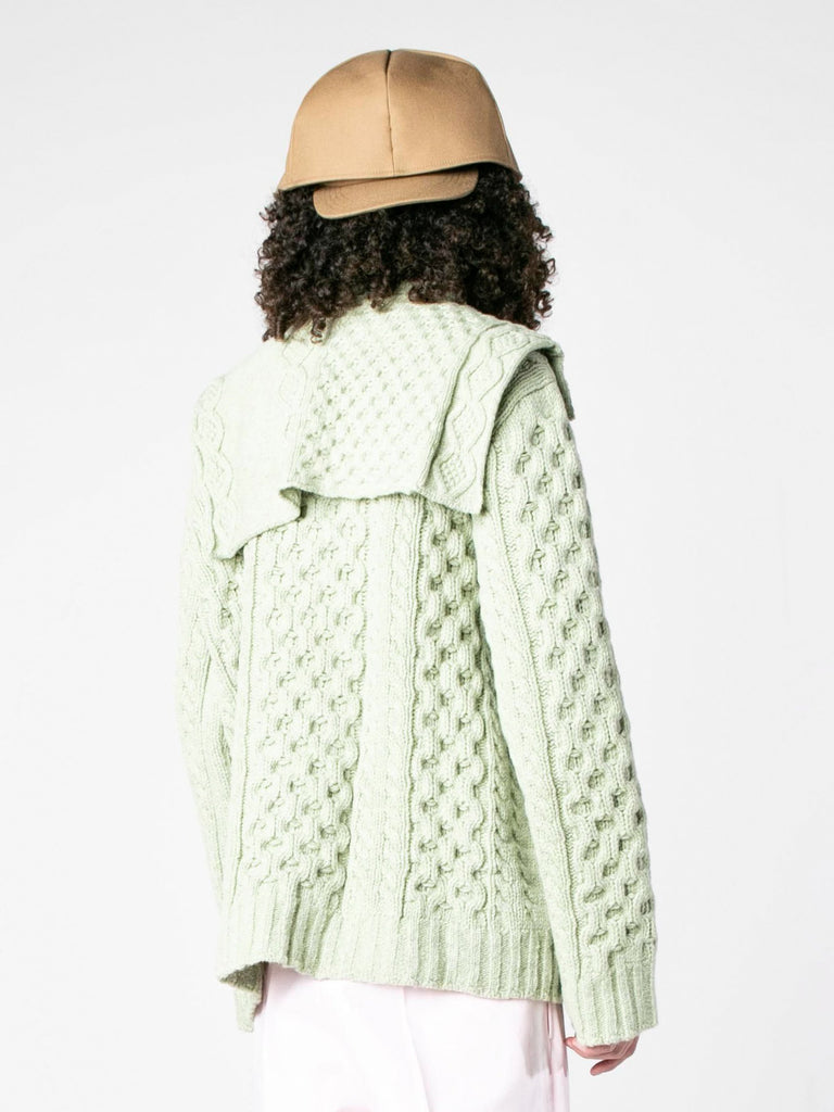 Sage Aran Knit Sweater with Patched on Collar 513570058387533