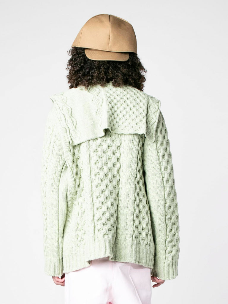 Sage Aran Knit Sweater with Patched on Collar 613570058420301