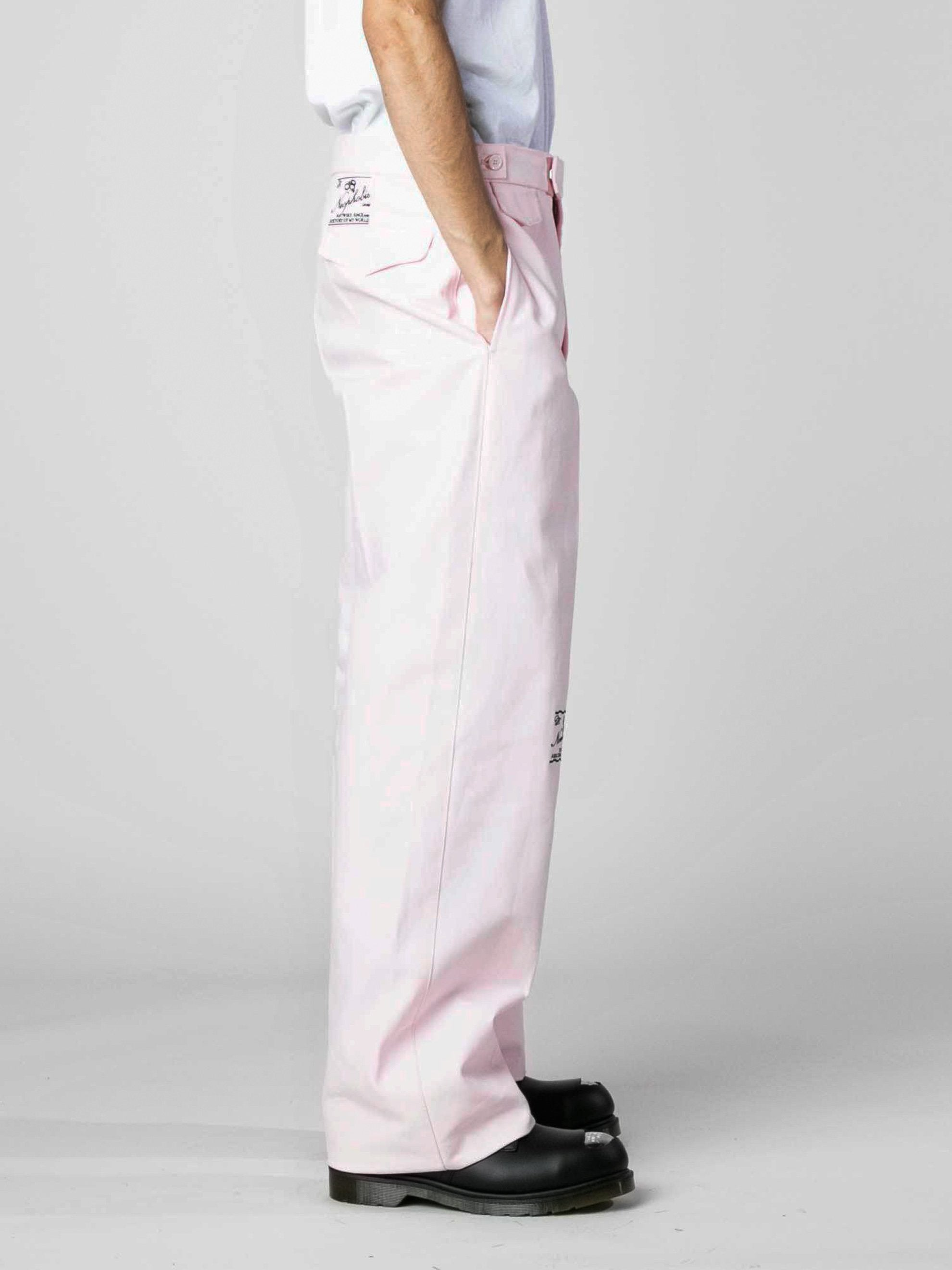 Pink Wide Chino Pants with Embroidery 4