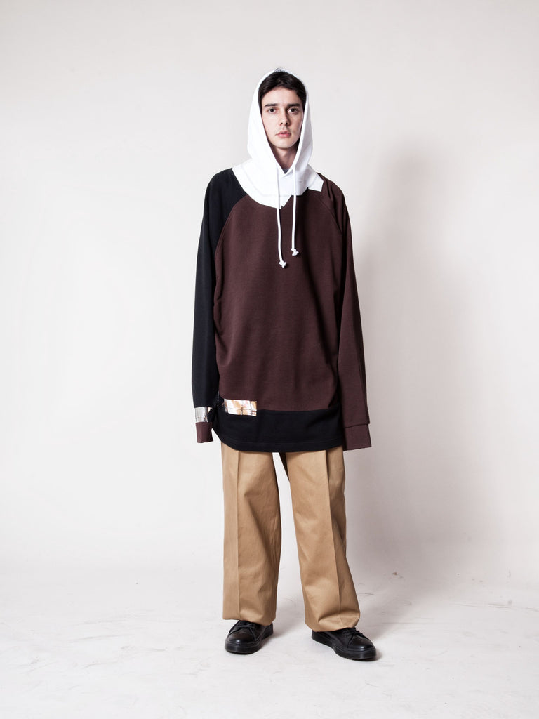 White/Red Oversized Hooded Sweatshirt (Tape) 2368877633545
