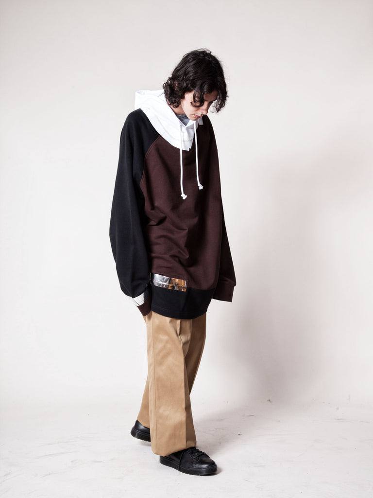 Black/Brown Oversized Hooded Sweatshirt (Tape) 6368877993993