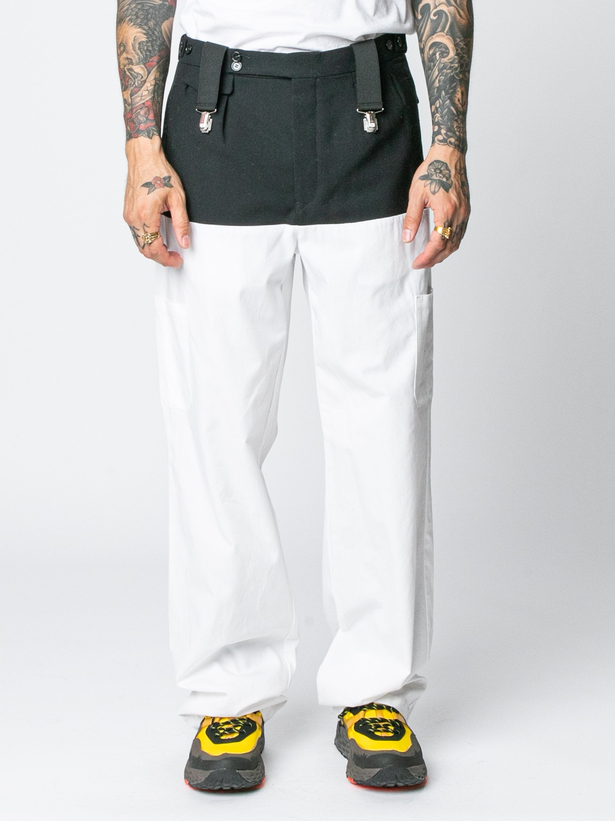 White / Navy Pants With Horizontal Cut Pockets & Suspenders 2