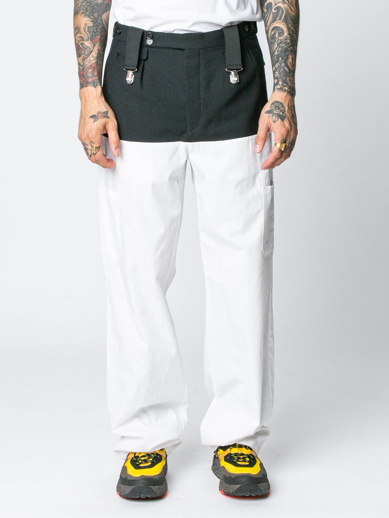White / Navy Pants With Horizontal Cut Pockets & Suspenders 214326294511693