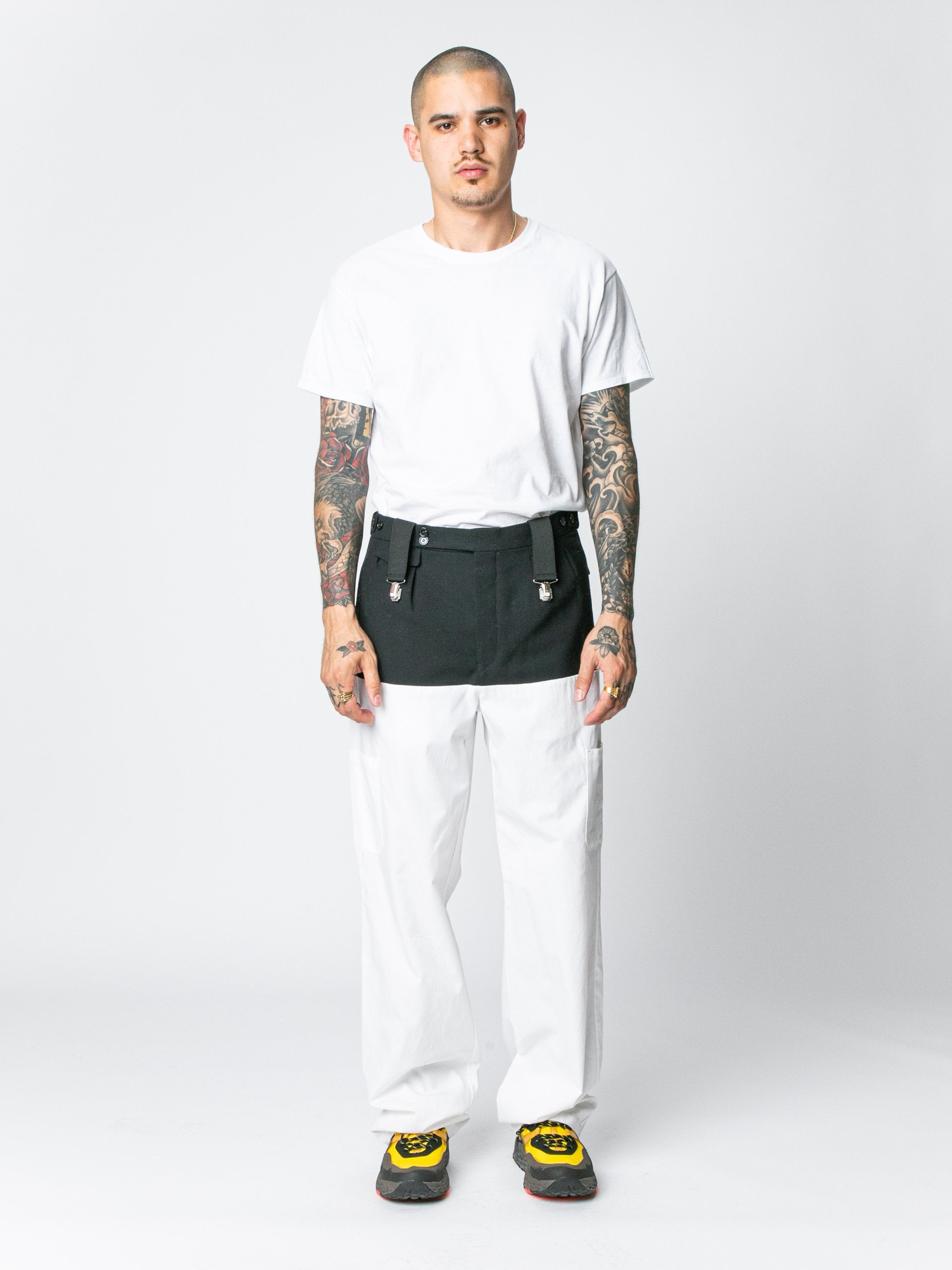 White / Navy Pants With Horizontal Cut Pockets & Suspenders 3