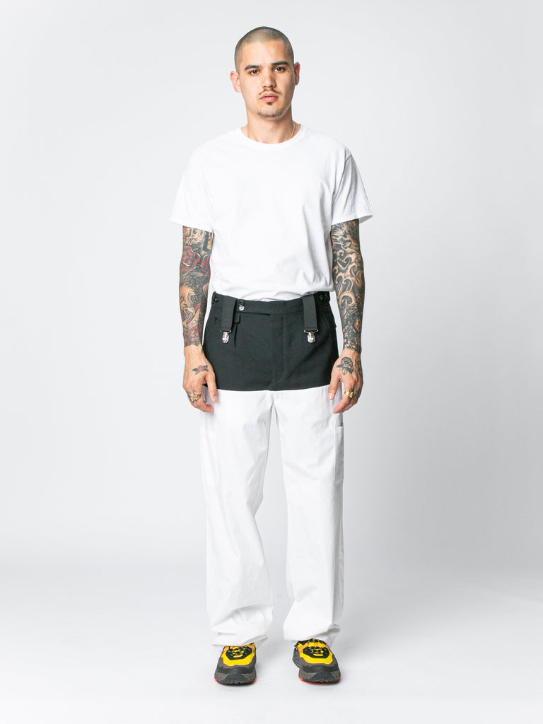 White / Navy Pants With Horizontal Cut Pockets & Suspenders 314326294544461
